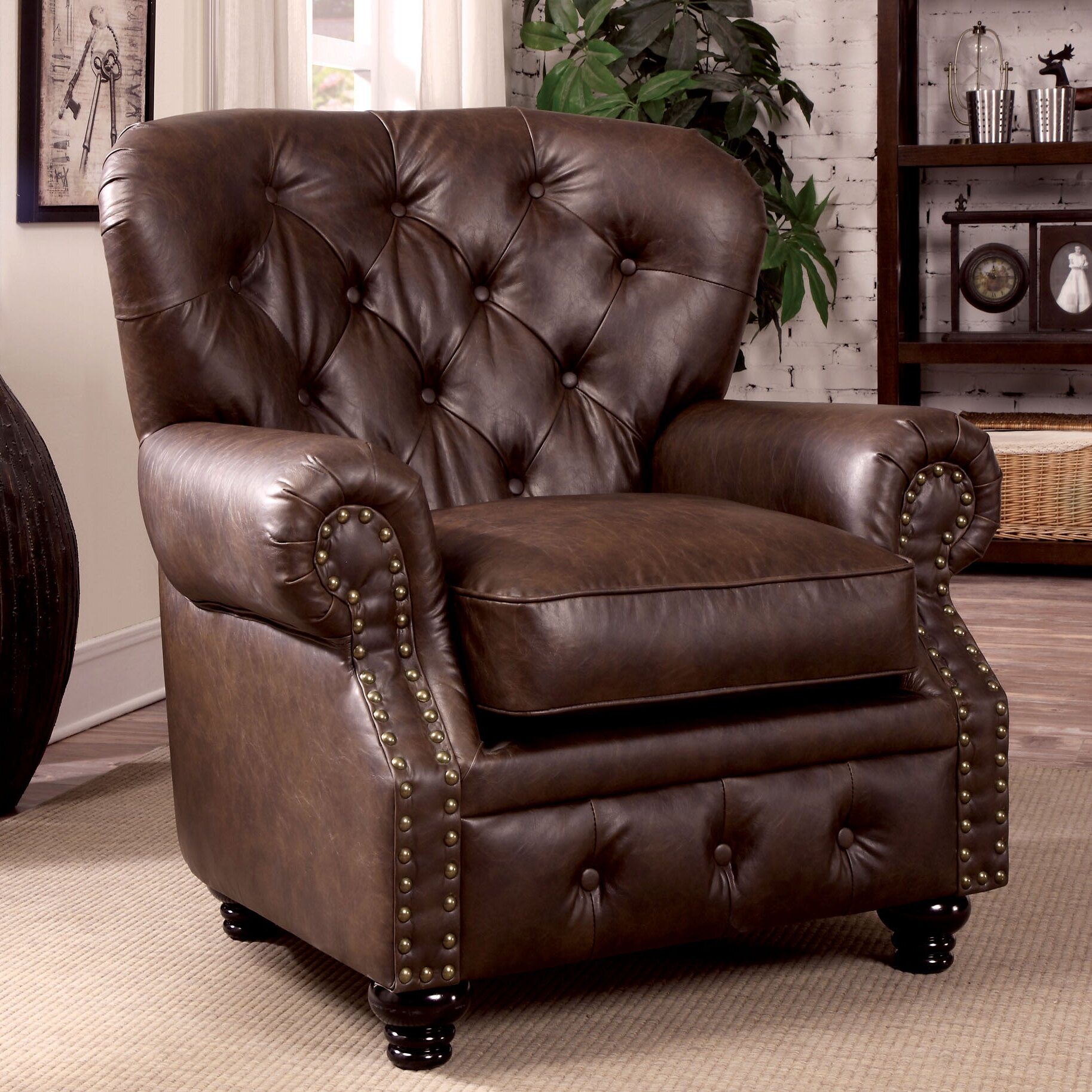 Lindstrom tufted leatherette arm chair wayfair