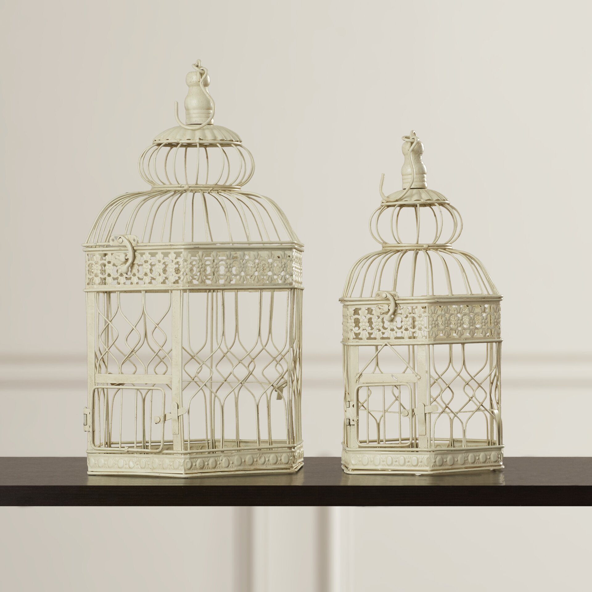 darby home co 2 piece decorative metal bird cage set decorative home decor pieces trend home design and decor