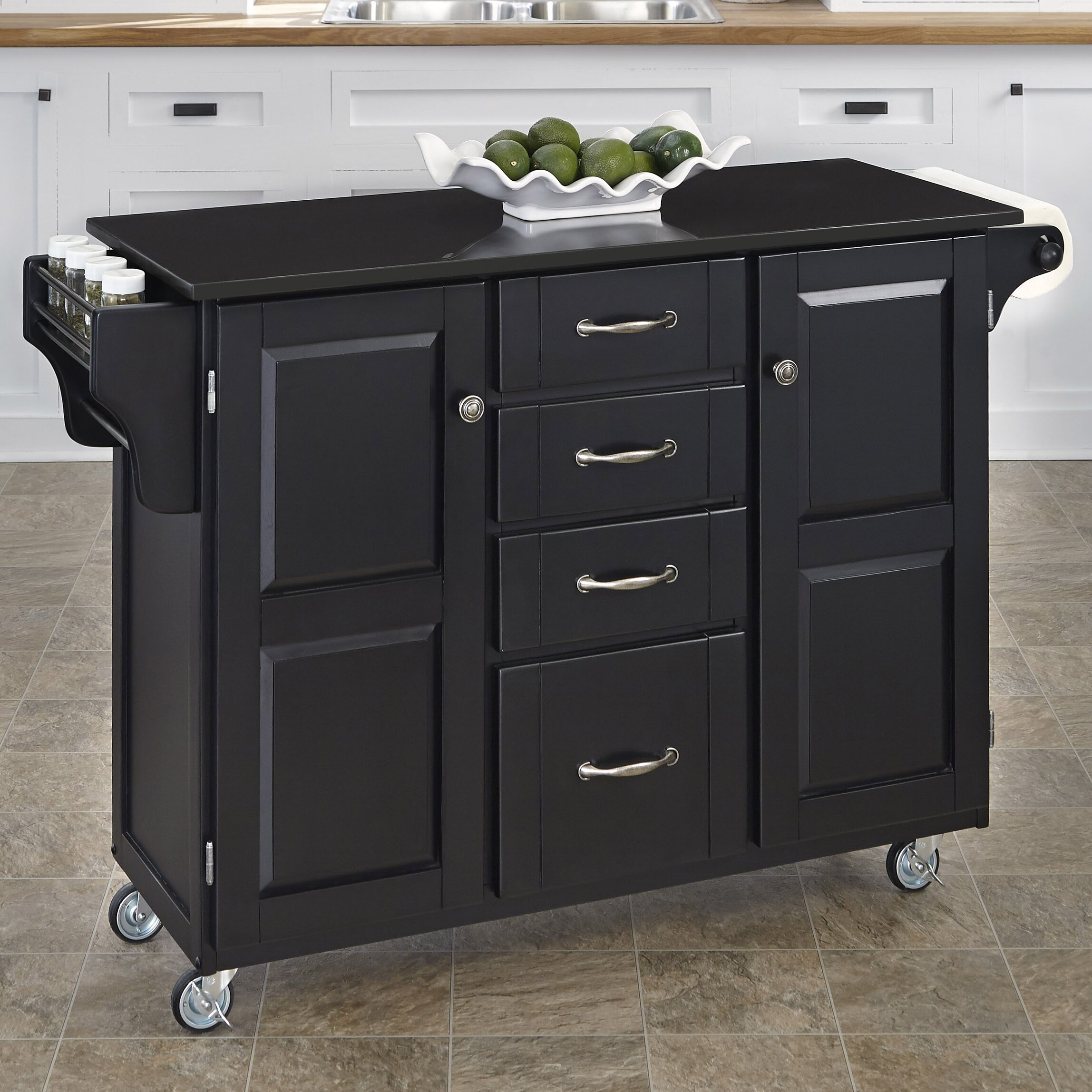 darby home co tharpe kitchen cart with granite top reviews wayfair. Black Bedroom Furniture Sets. Home Design Ideas
