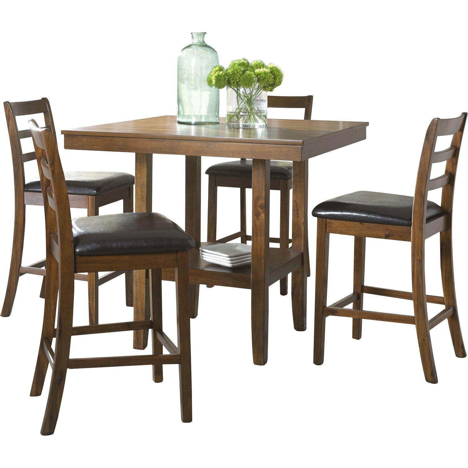 driscoll 5 piece pub table set wayfair. Black Bedroom Furniture Sets. Home Design Ideas