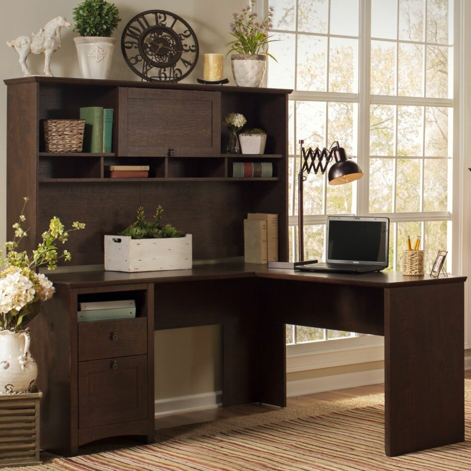 egger corner l desk with hutch bookcase and lateral file wayfair. Black Bedroom Furniture Sets. Home Design Ideas