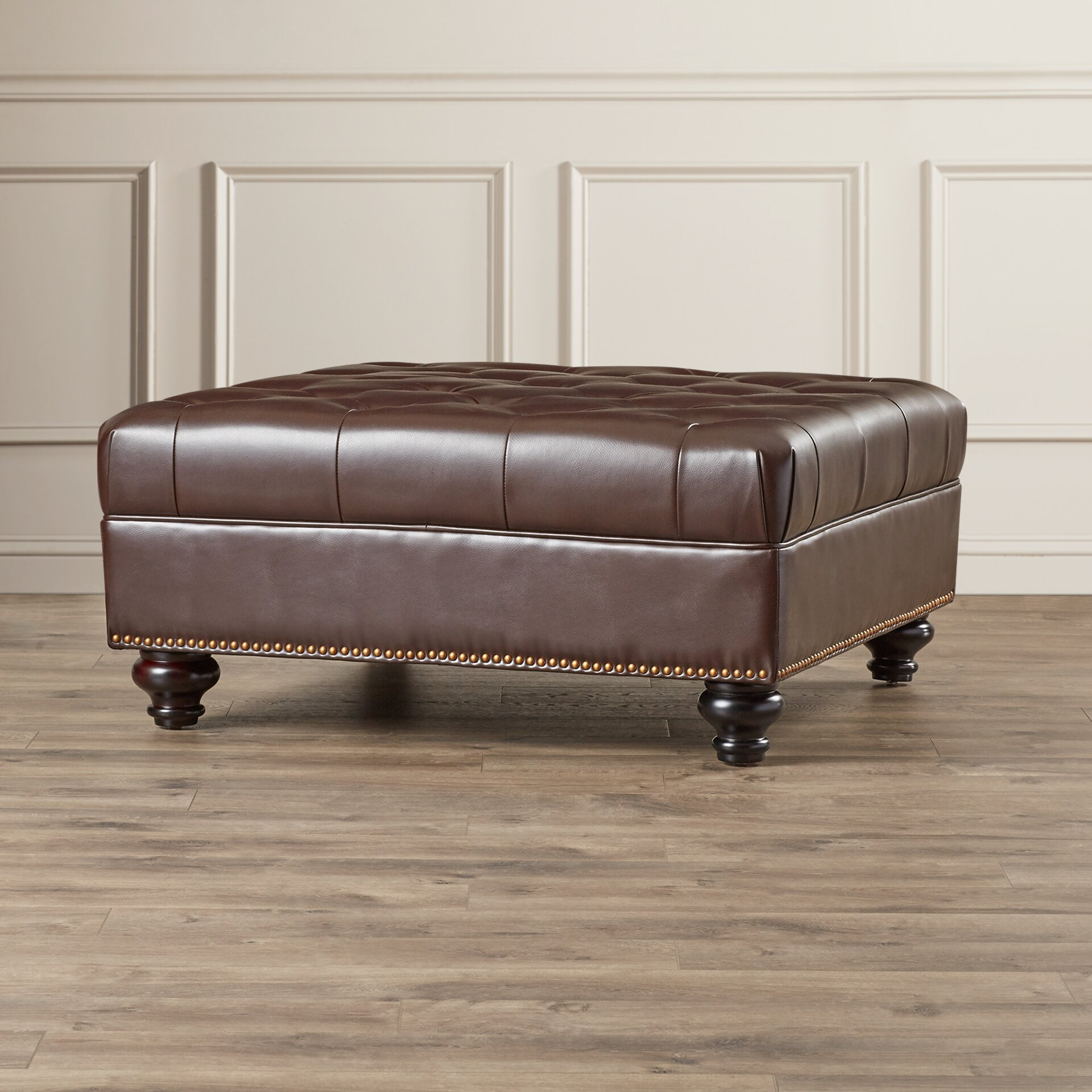 Darby Home Co Connelly Leather Cocktail Ottoman Amp Reviews