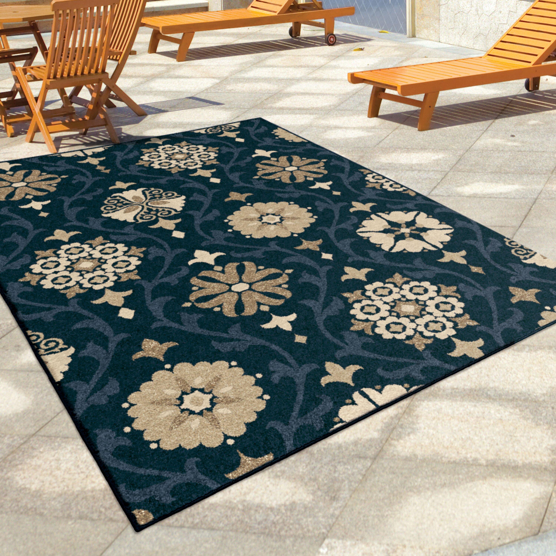 Dubuque blue indoor outdoor area rug for Blue indoor outdoor rug