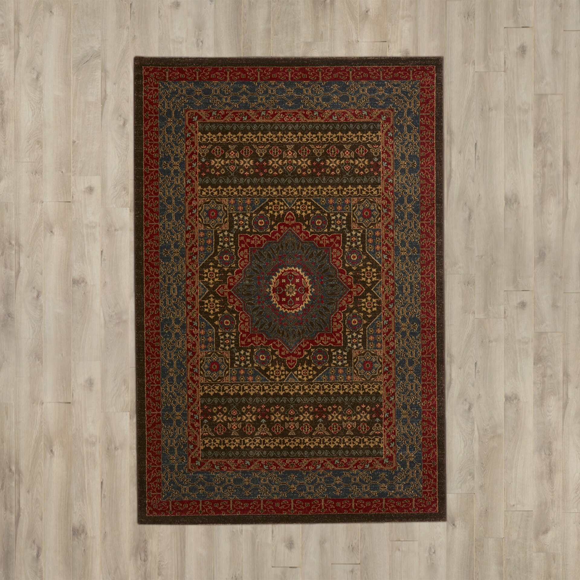 Alto blue red area rug wayfair for Red and blue area rug