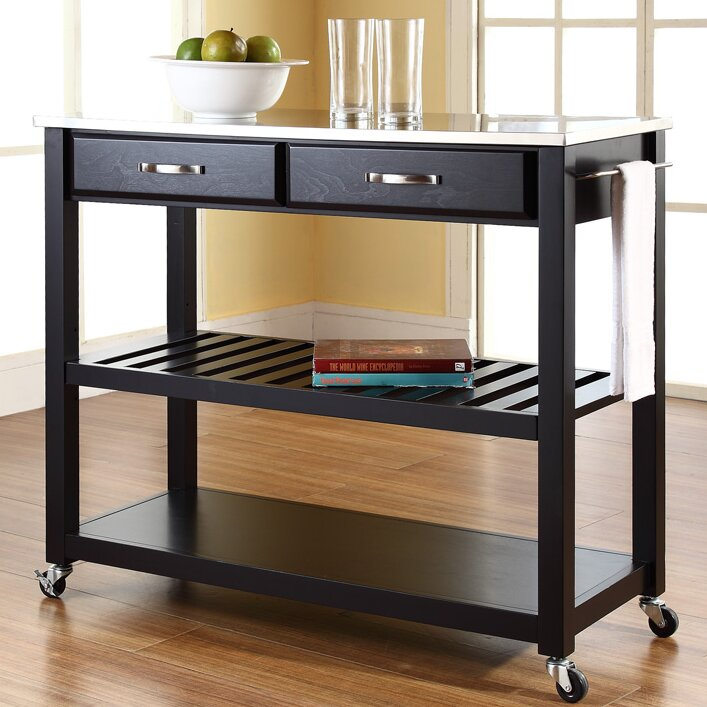 Alcott Hill Bernice Kitchen Cart With Stainless Steel Top