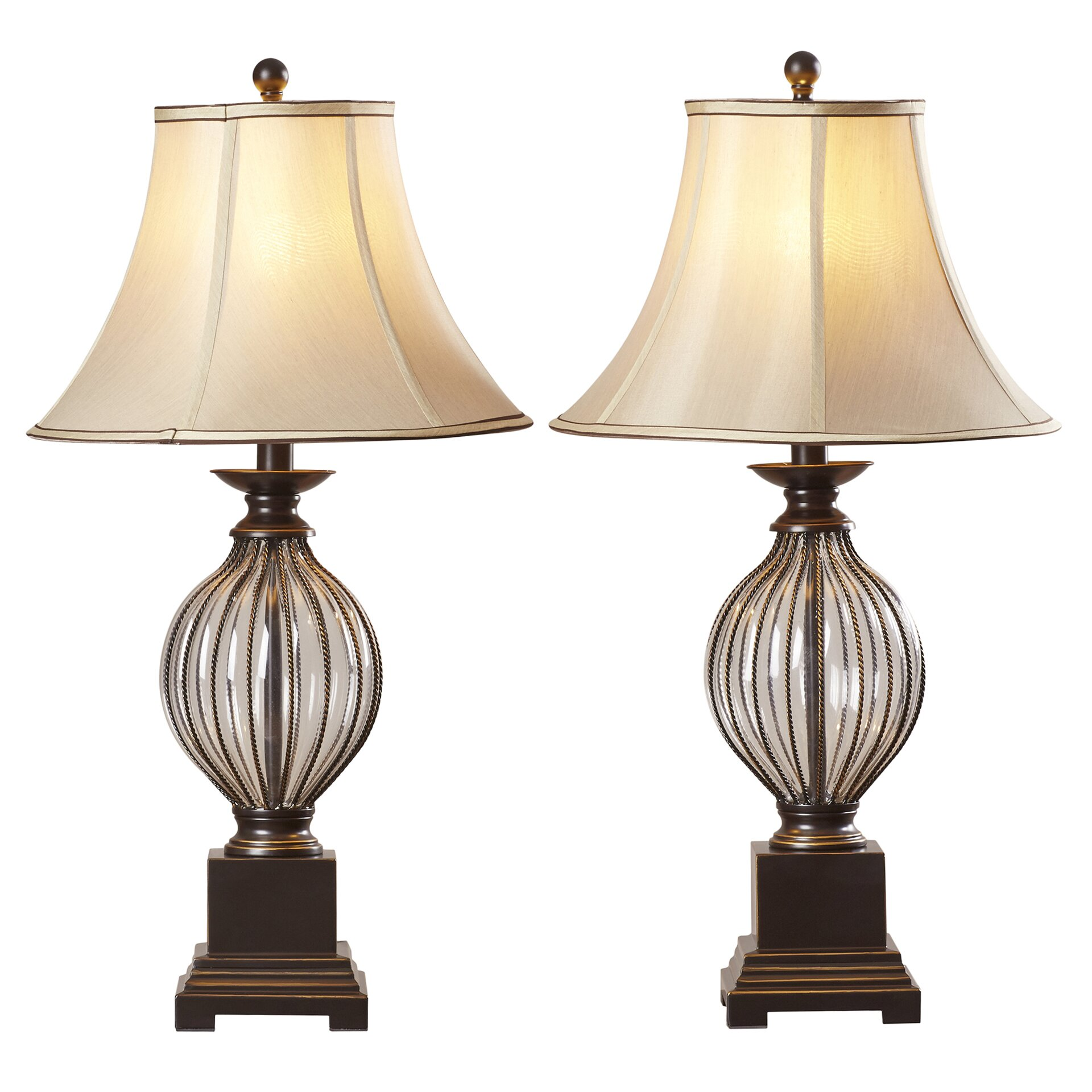 alcott hill ontario 31 h table lamp with bell shade. Black Bedroom Furniture Sets. Home Design Ideas