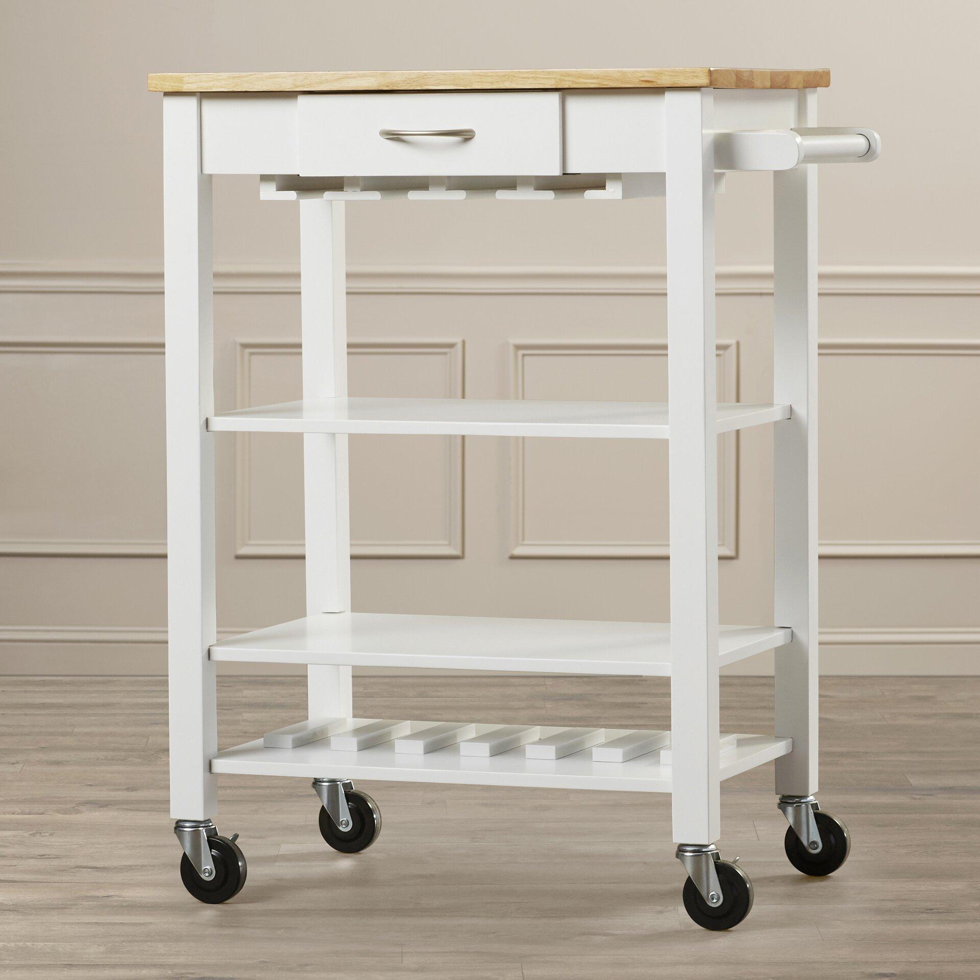 morgandale kitchen cart with butcher block top wayfair