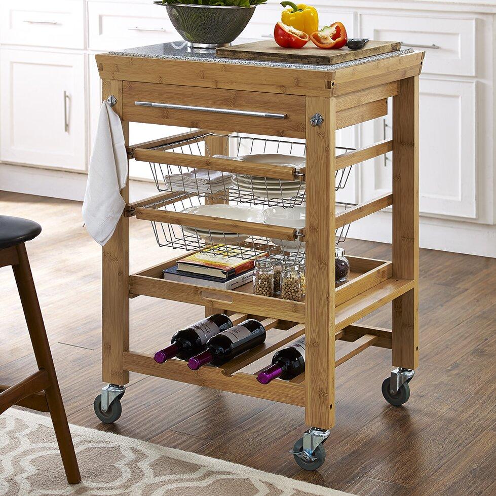 barhill kitchen cart with granite top wayfair. Black Bedroom Furniture Sets. Home Design Ideas