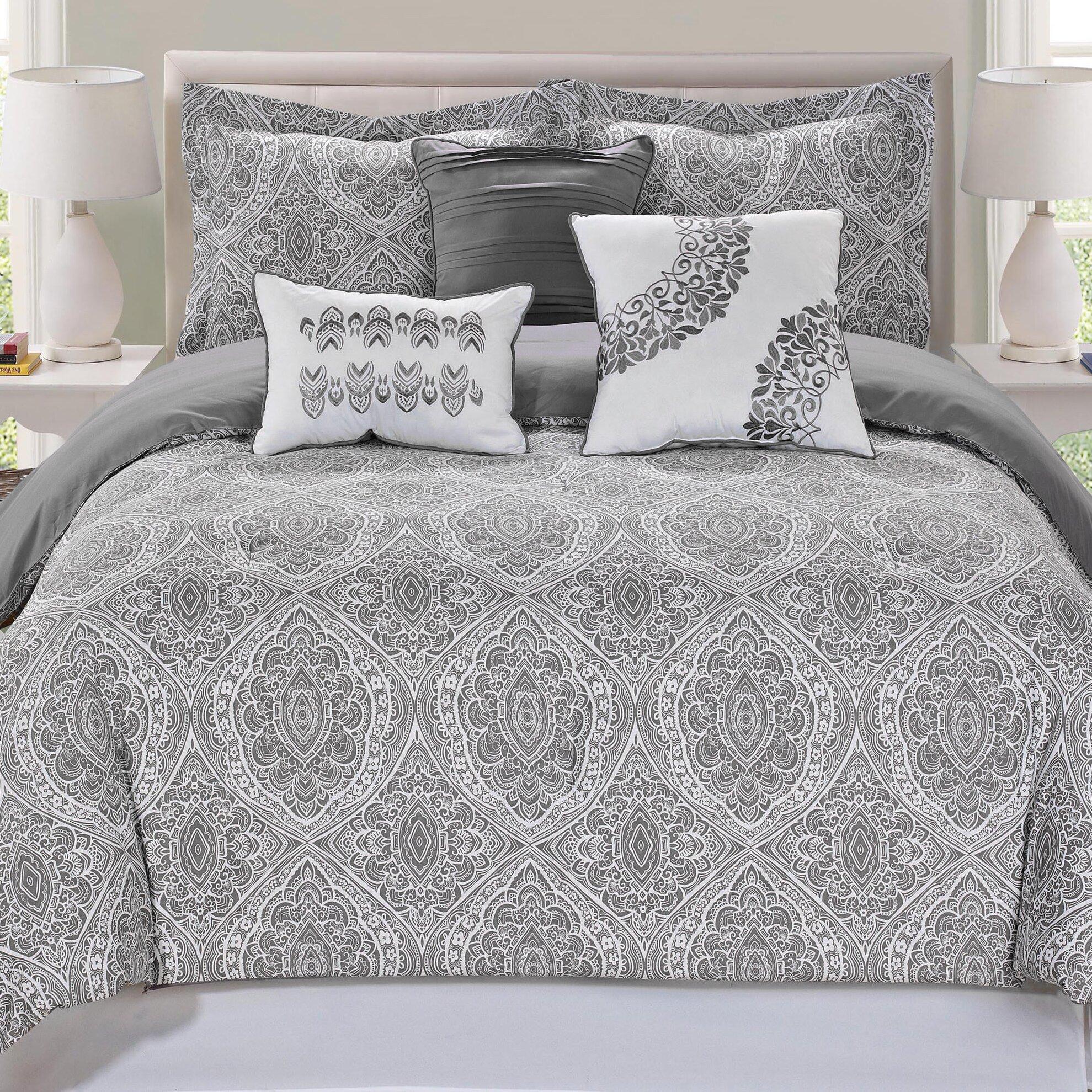 Alcott Hill Varian Upholstered Storage Bedroom Bench: Varian 7 Piece Comforter Set