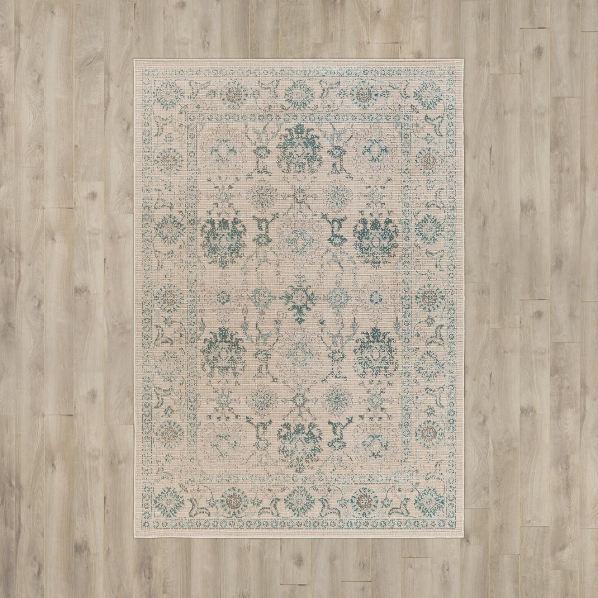 Alcott Hill Canfield Teal/Beige Area Rug & Reviews