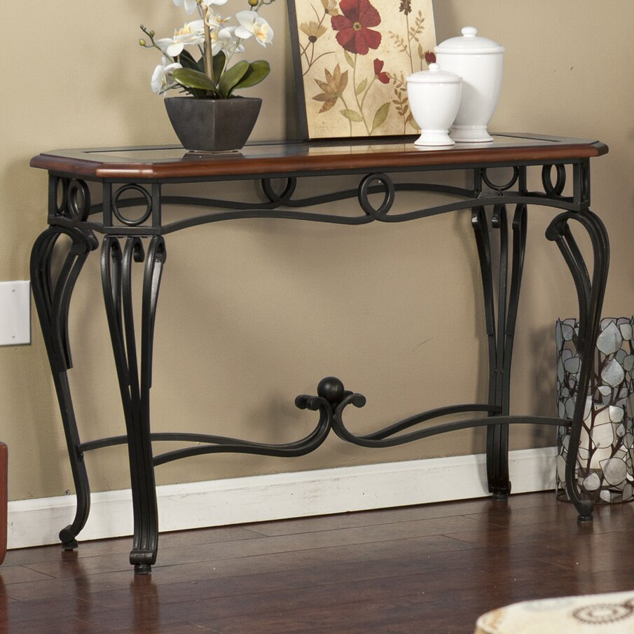 Console Table Entry Hall TV Stand End Table Scrolled Metal Legs