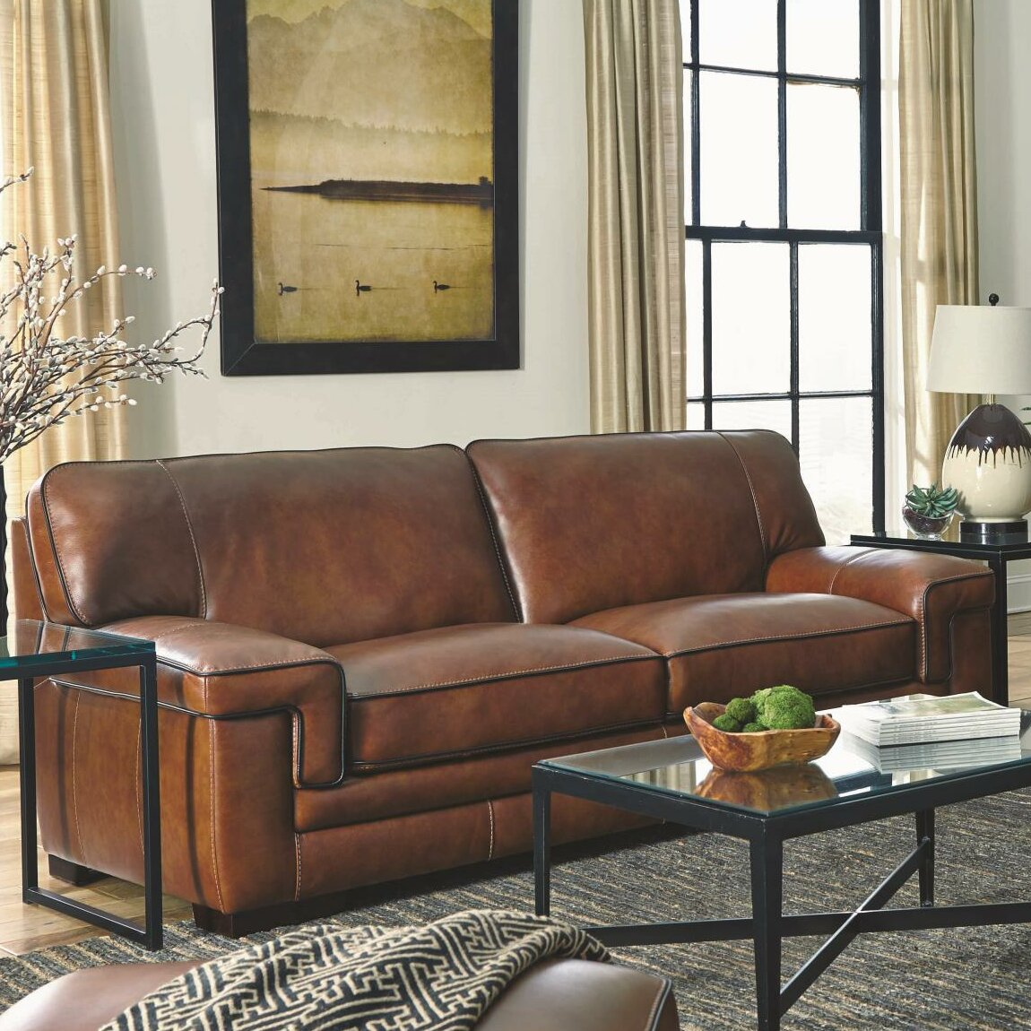 Simon Li Macco Leather Sofa Amp Reviews Wayfair
