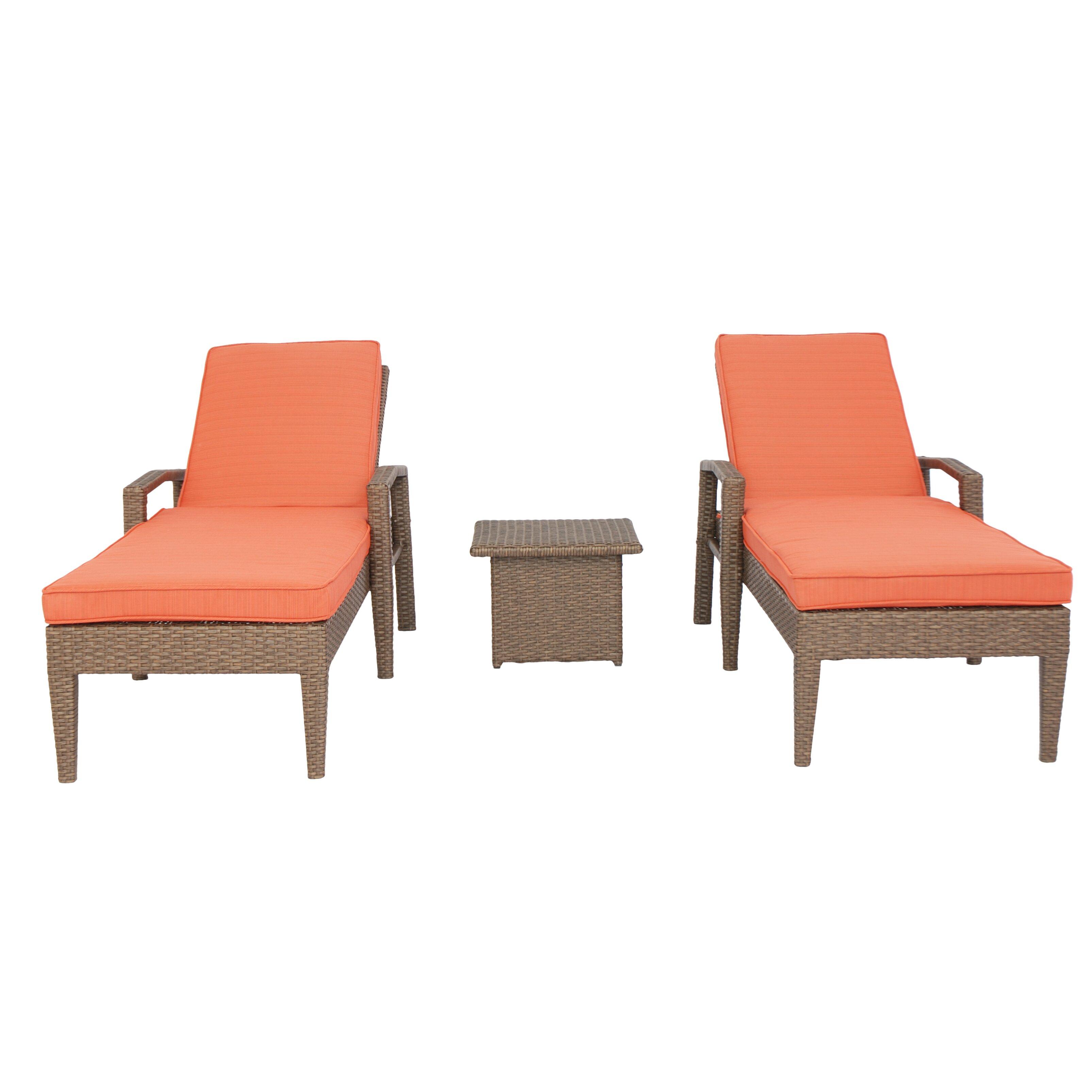 Brayden Studio Ferber 3 Piece Chaise Lounge Set With Cushions Allmodern