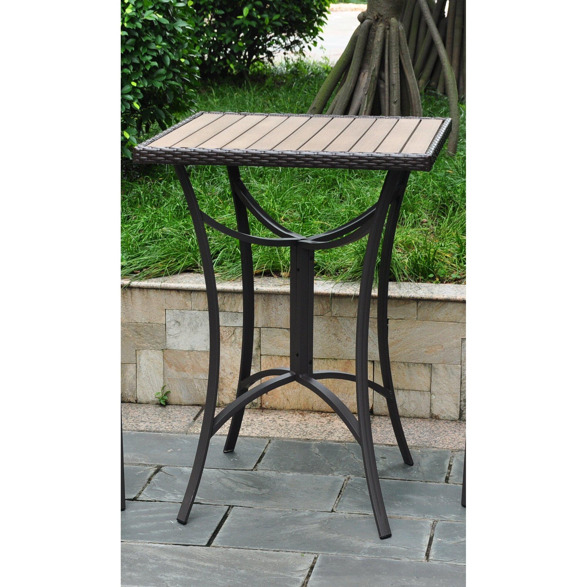 Brayden Studio Katzer Wicker Resin Aluminum Patio Table Reviews Wayfair
