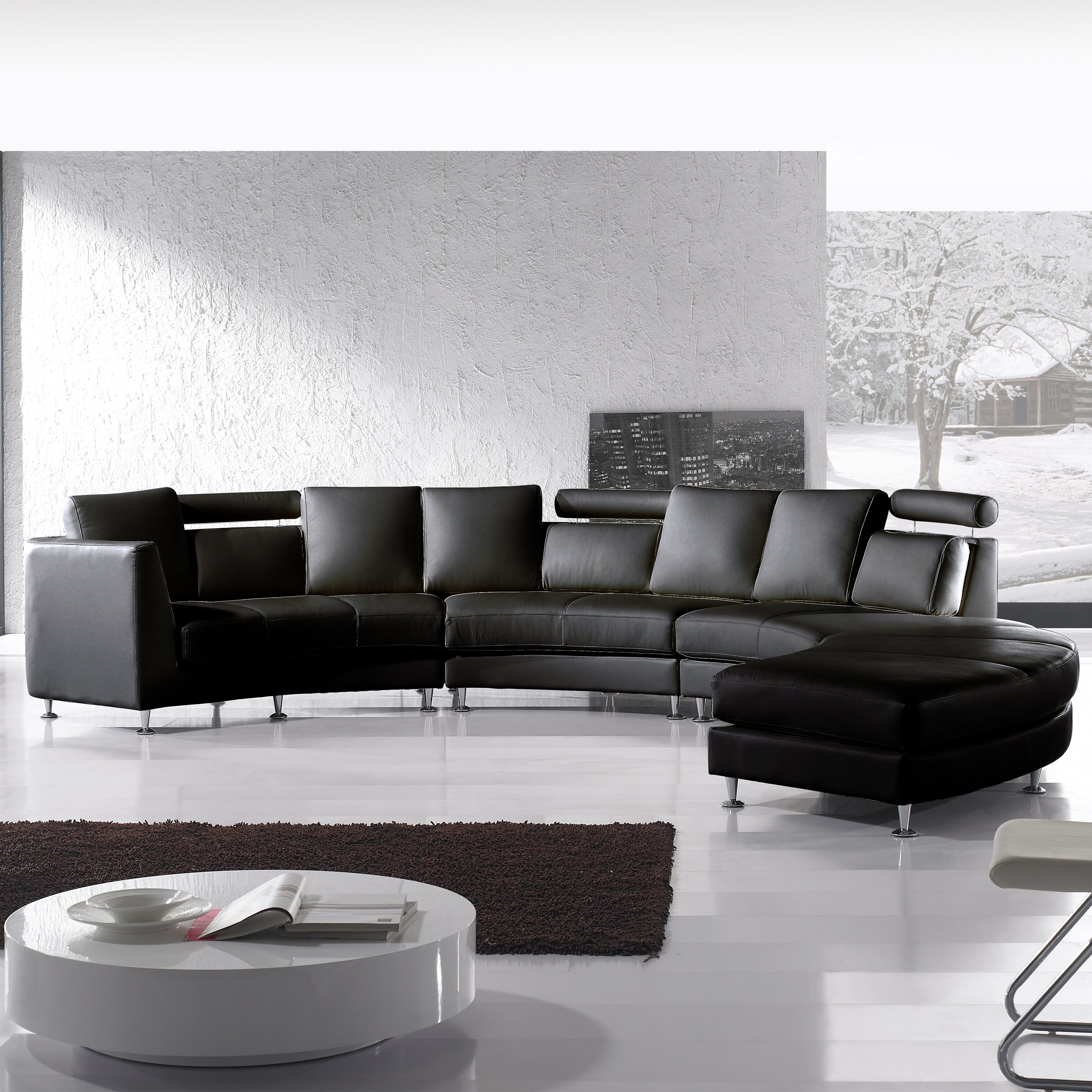 Wade Logan Rotunde 4 Piece Leather Circular Living Room ...