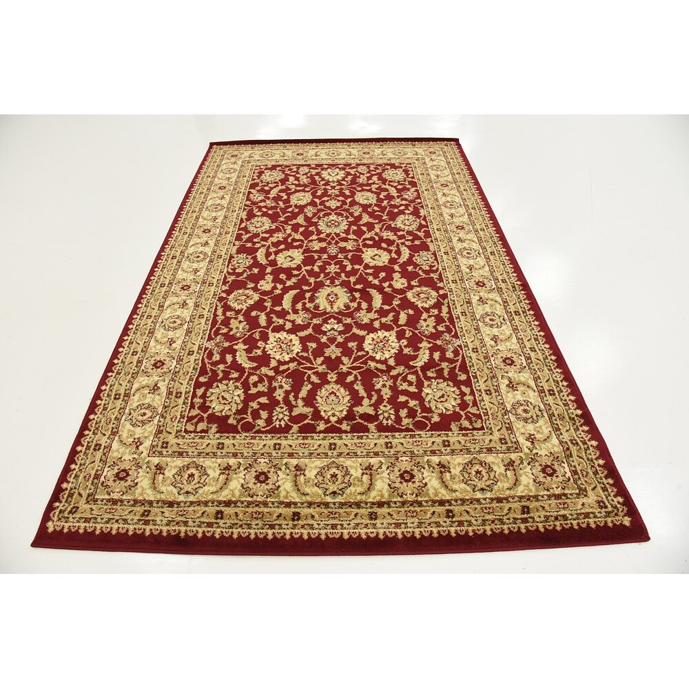 Agra red cream area rug wayfair for Cream and red rugs