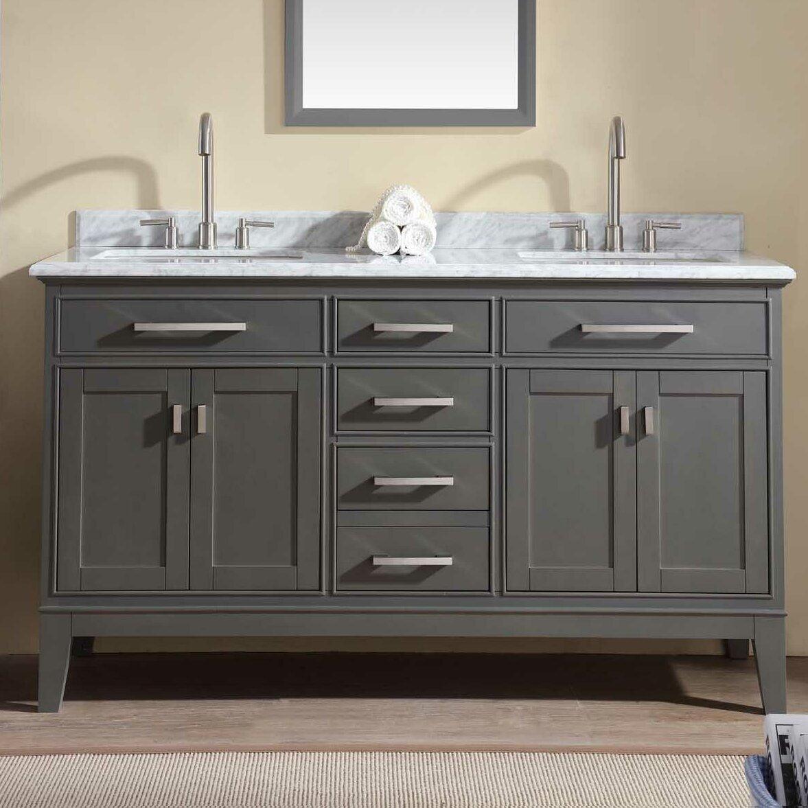 Danny 60 double bathroom vanity set wayfair for 60s kitchen set