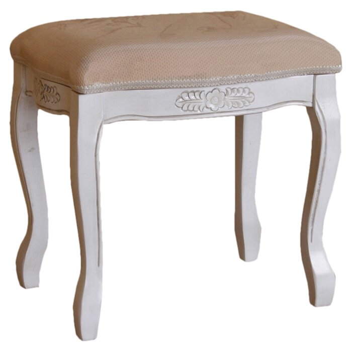 Maes Hand Carved Antique White Vanity Stool Wayfair