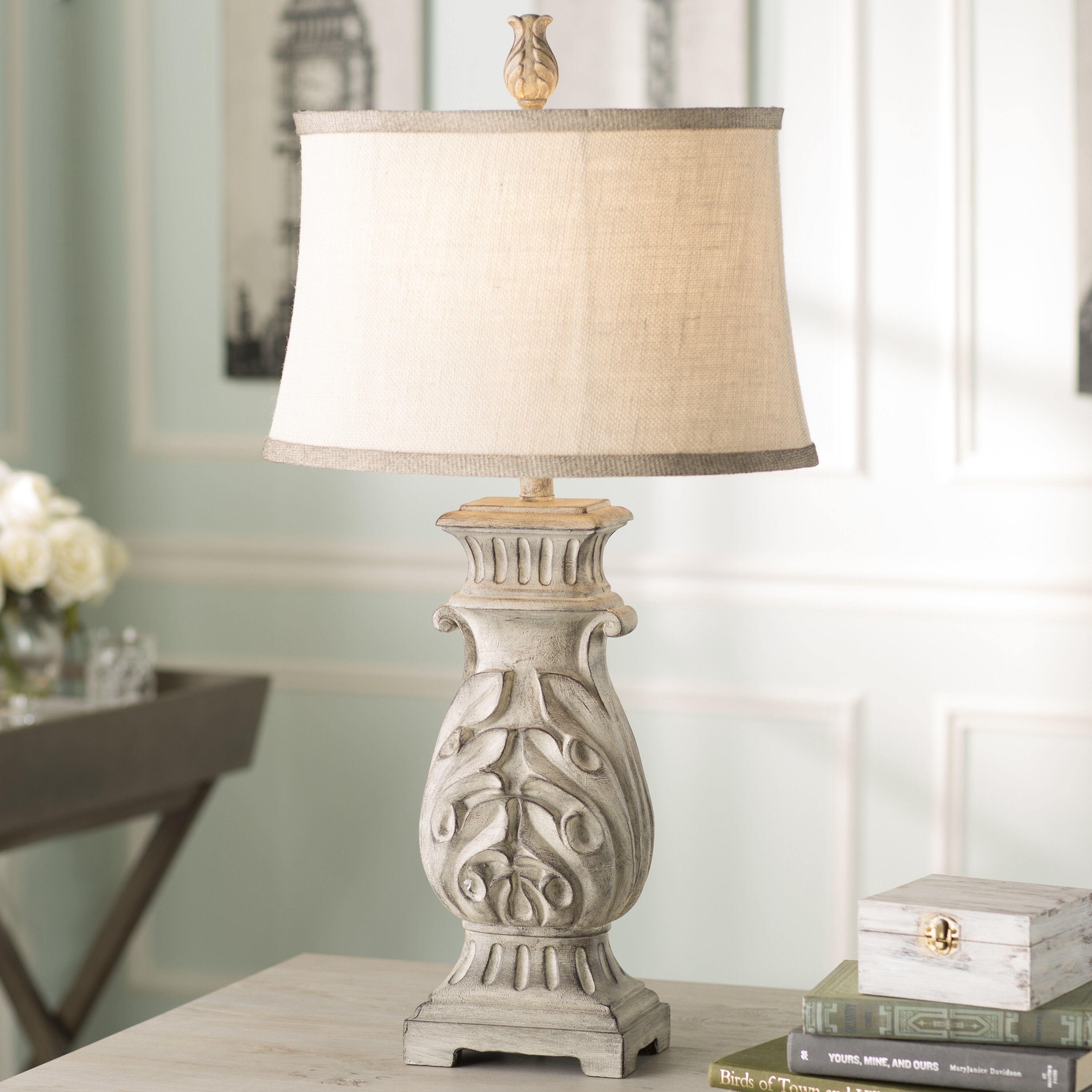 lighting lamps gray table lamps lark manor sku lark1248. Black Bedroom Furniture Sets. Home Design Ideas
