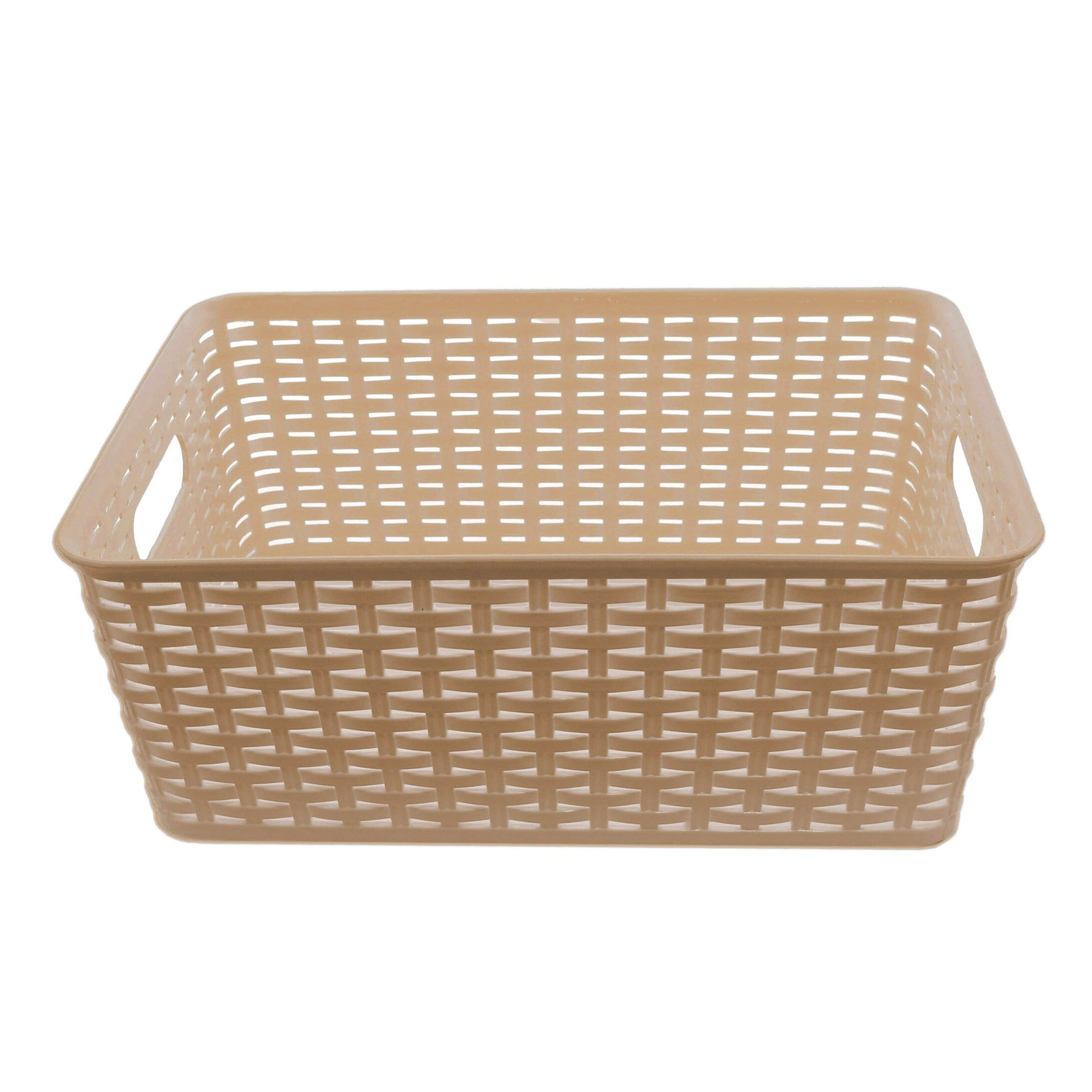 plastic rattan storage basket organizer wayfair. Black Bedroom Furniture Sets. Home Design Ideas