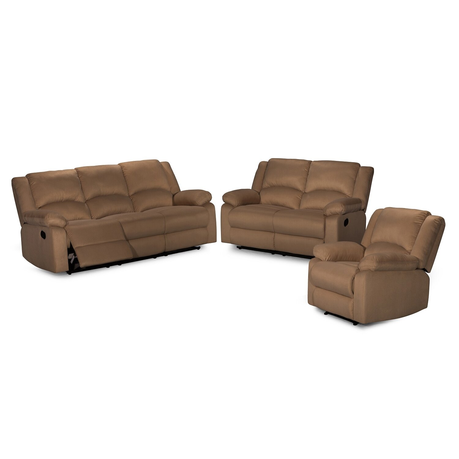 3 piece recliner sofa set wayfair. Black Bedroom Furniture Sets. Home Design Ideas