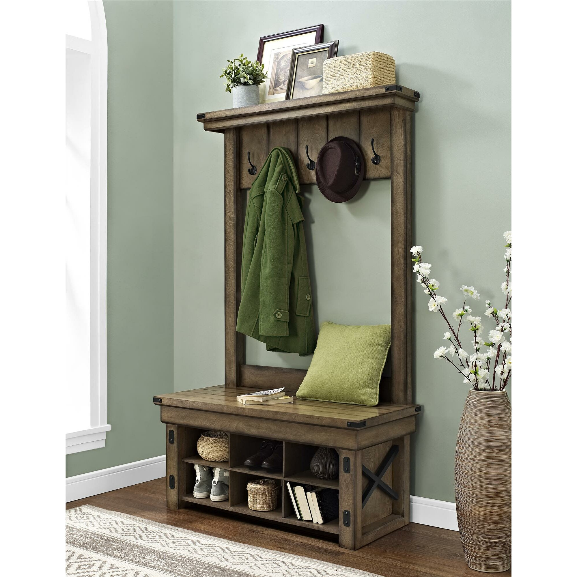 Irwin Wood Veneer Entryway Hall Tree With Storage Bench