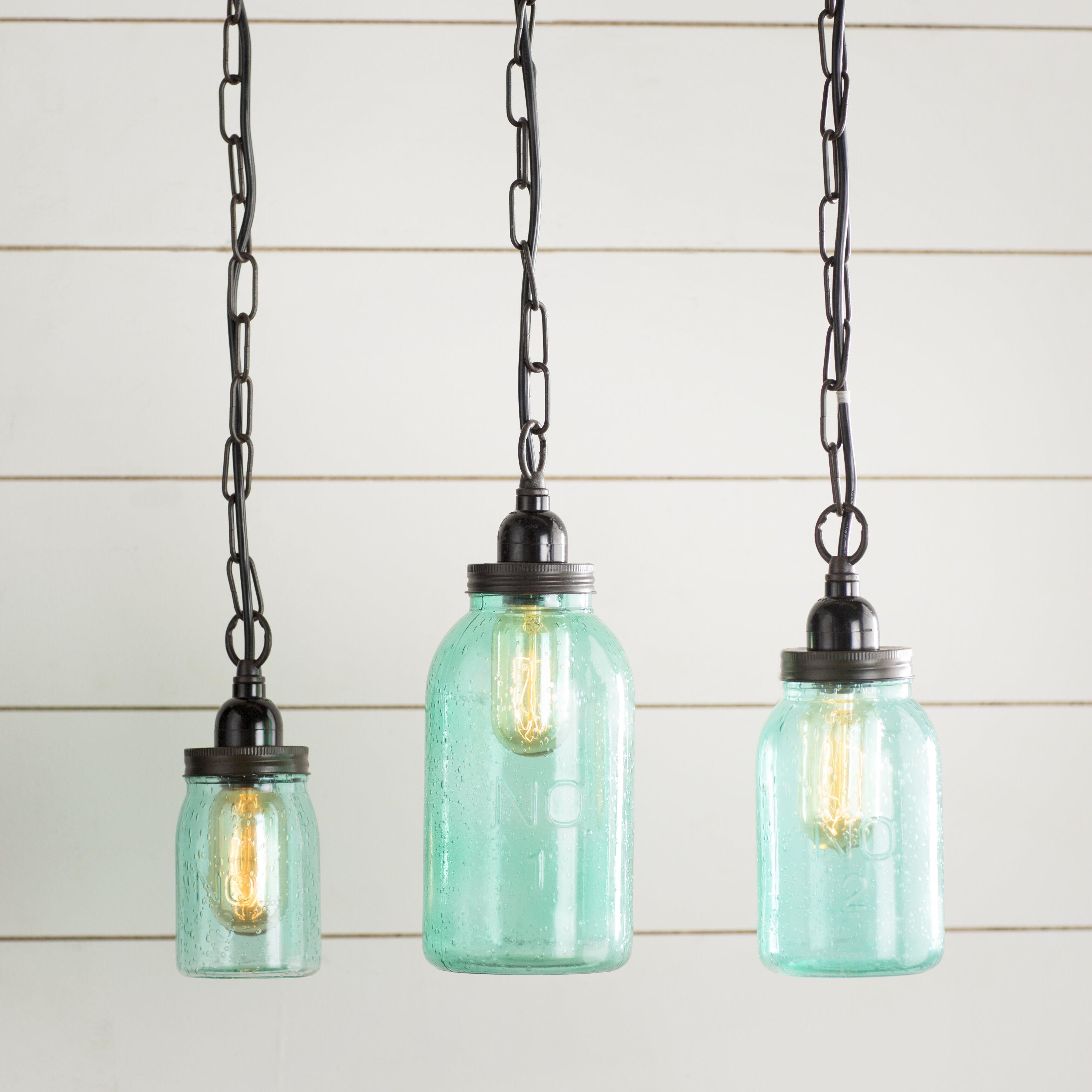 Stargaze Set Of 2 Hanging Mason Jar Pendant Lights By: Norgate 3 Piece Mason Jar Mini Pendant Set