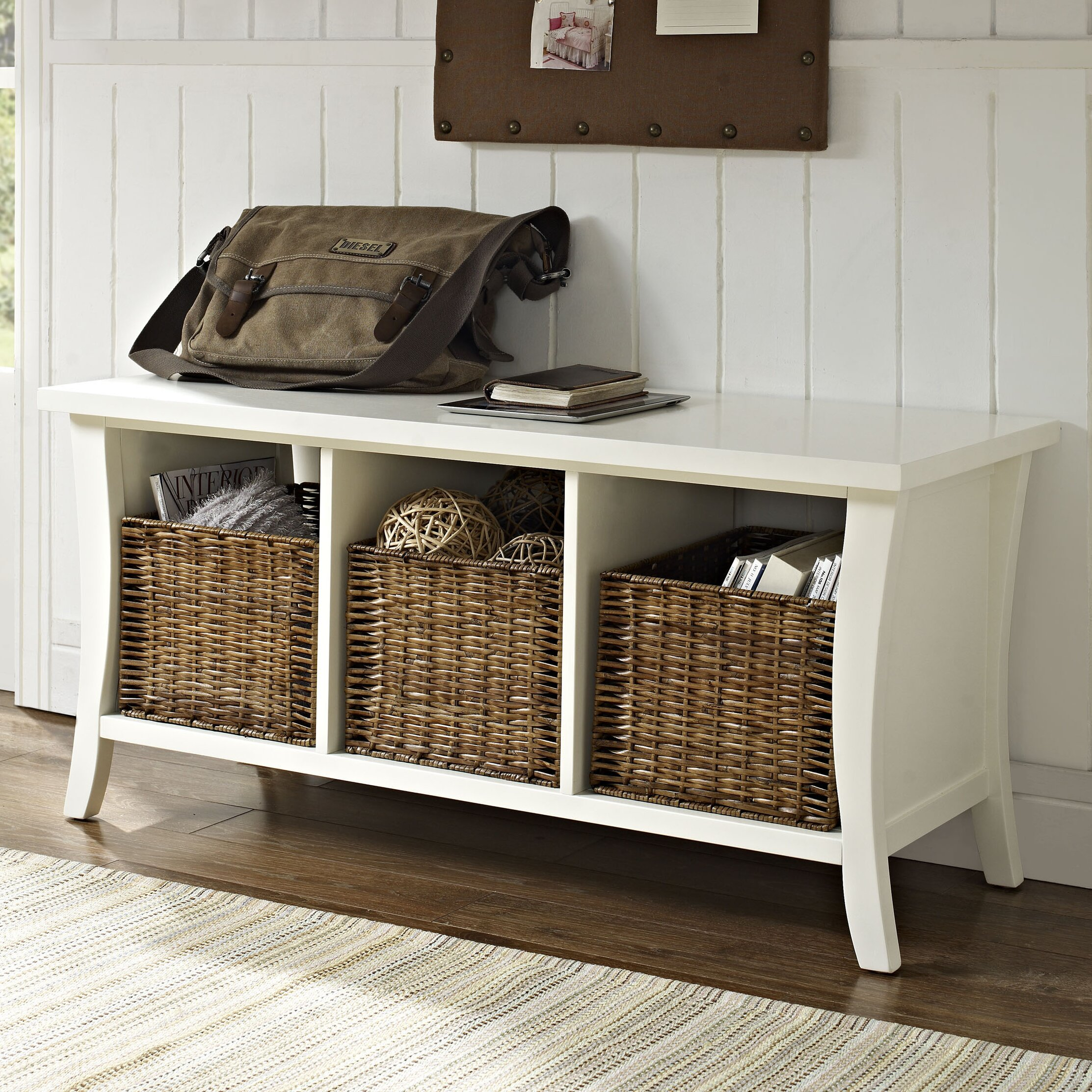 Foyer Mudroom Reviews : Beachcrest home lewisetta entryway storage bench reviews