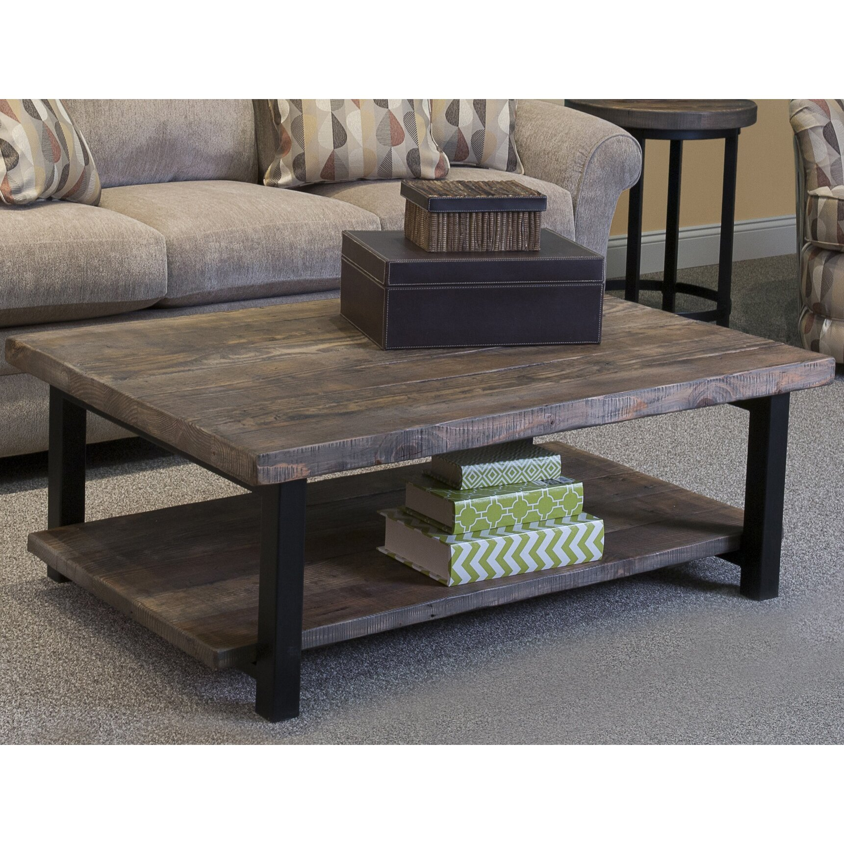 "Somers 48""W Reclaimed Wood/Metal Coffee Table"
