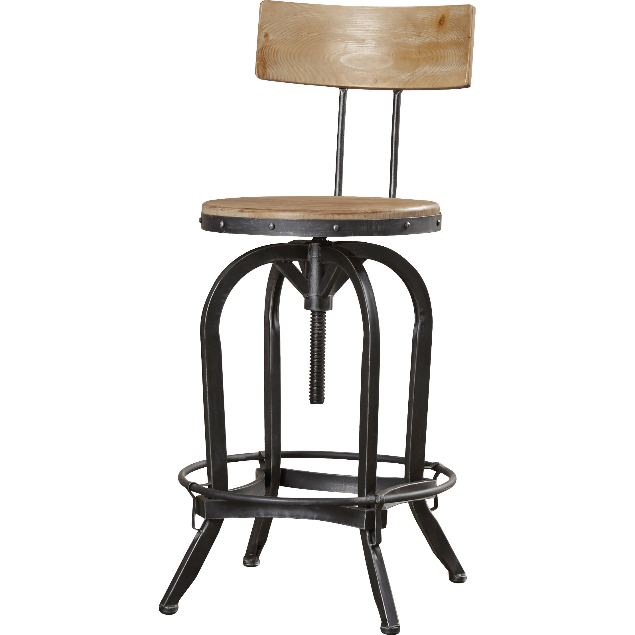Oria Adjustable Height Swivel Bar Stool Wayfair