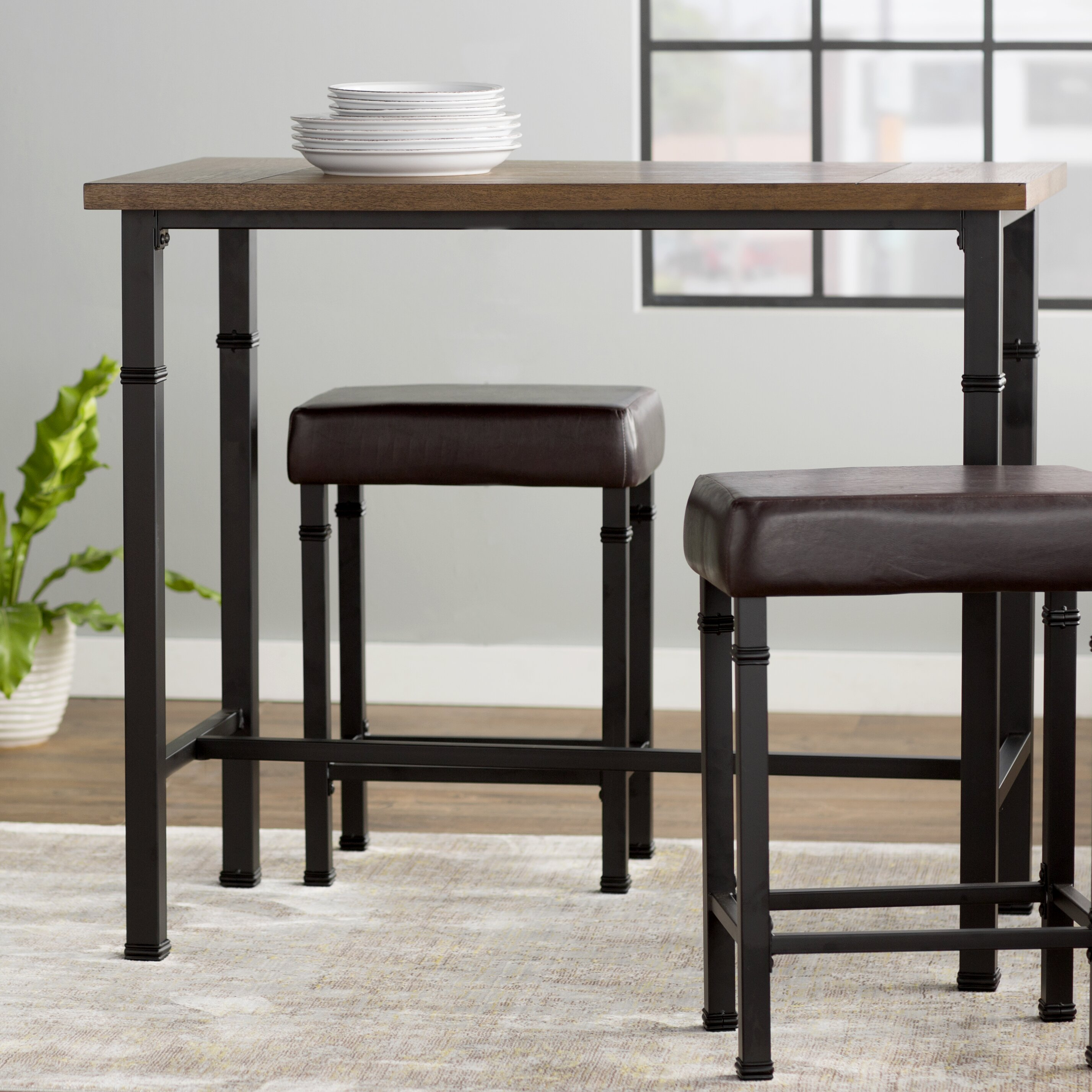 Billancourt 3 Piece Pub Table Set Wayfair