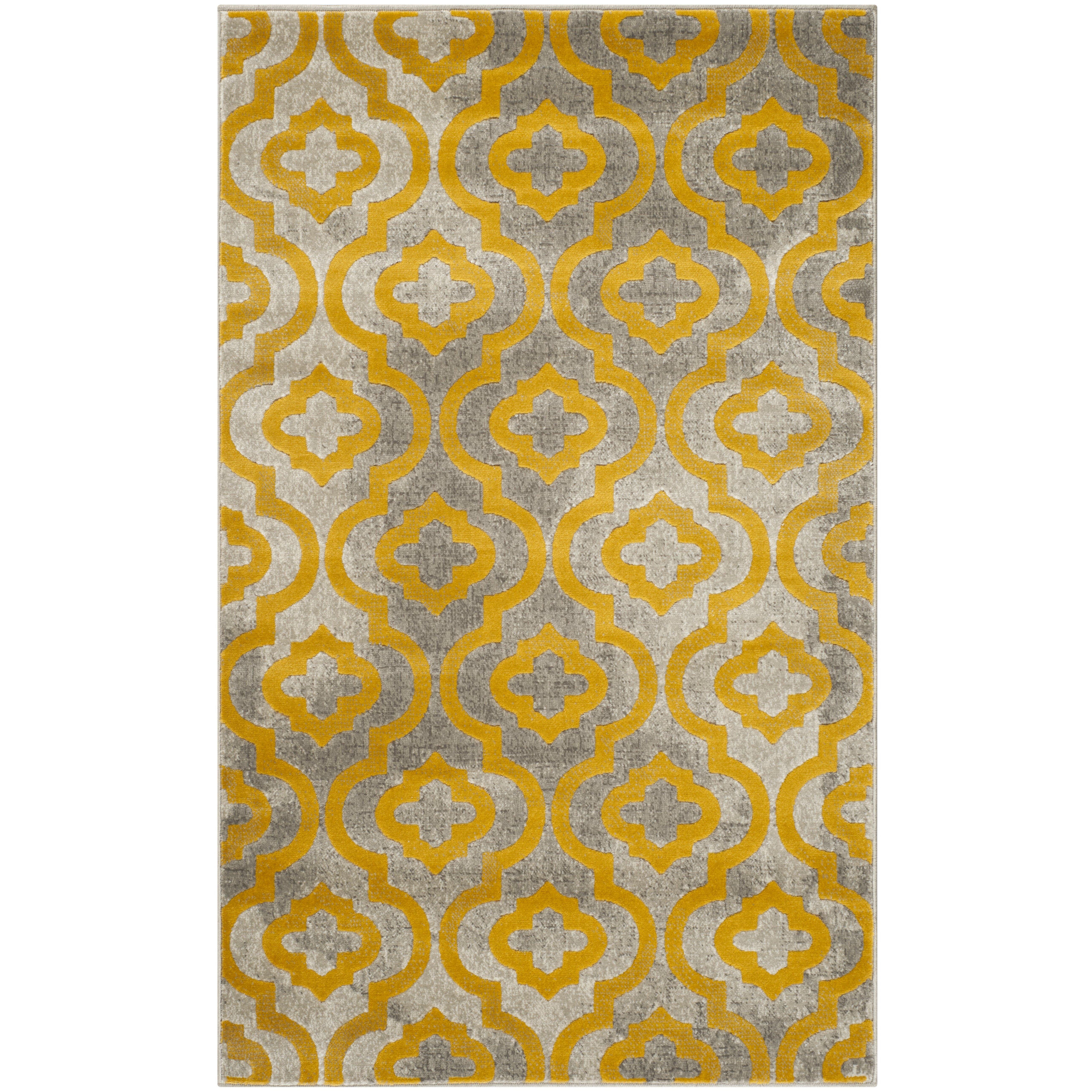 krenwik light gray yellow area rug wayfair. Black Bedroom Furniture Sets. Home Design Ideas