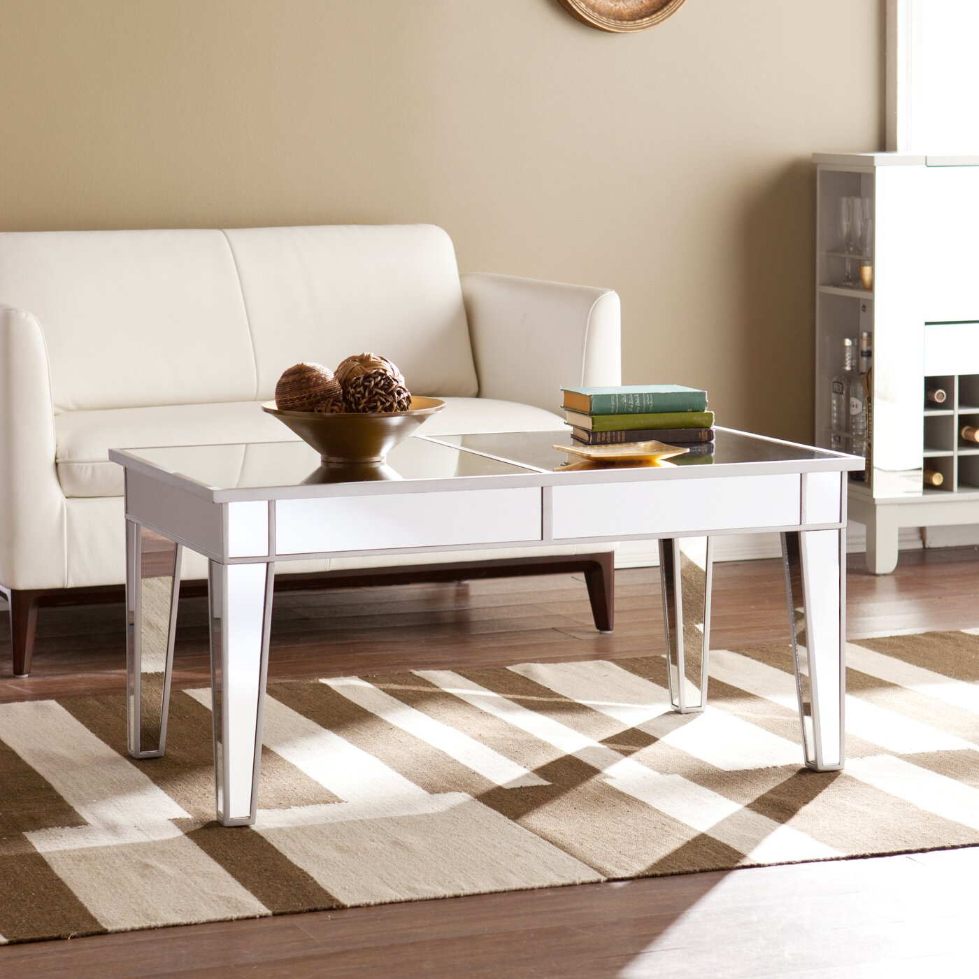 Ghent mirrored coffee table wayfair for Wayfair mirrored coffee table