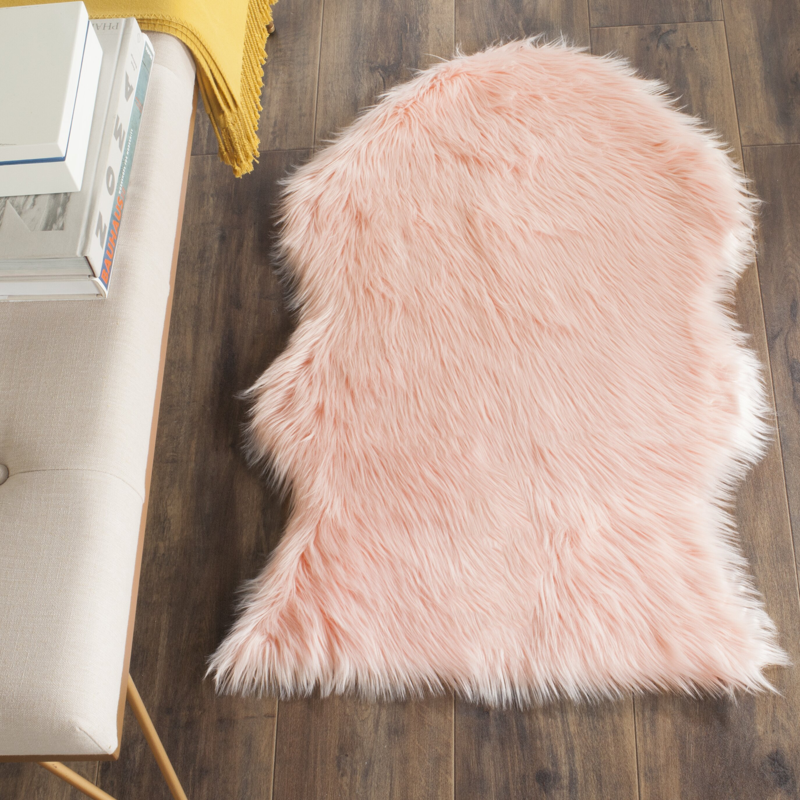Berman Faux Sheep Skin Pink Area Rug