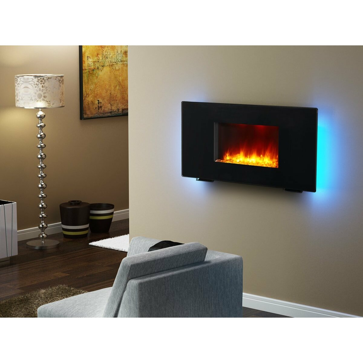 Puraflame 36 Black 1350w Galena Portable Or Wall Mounted Flat Panel Electric Fireplace