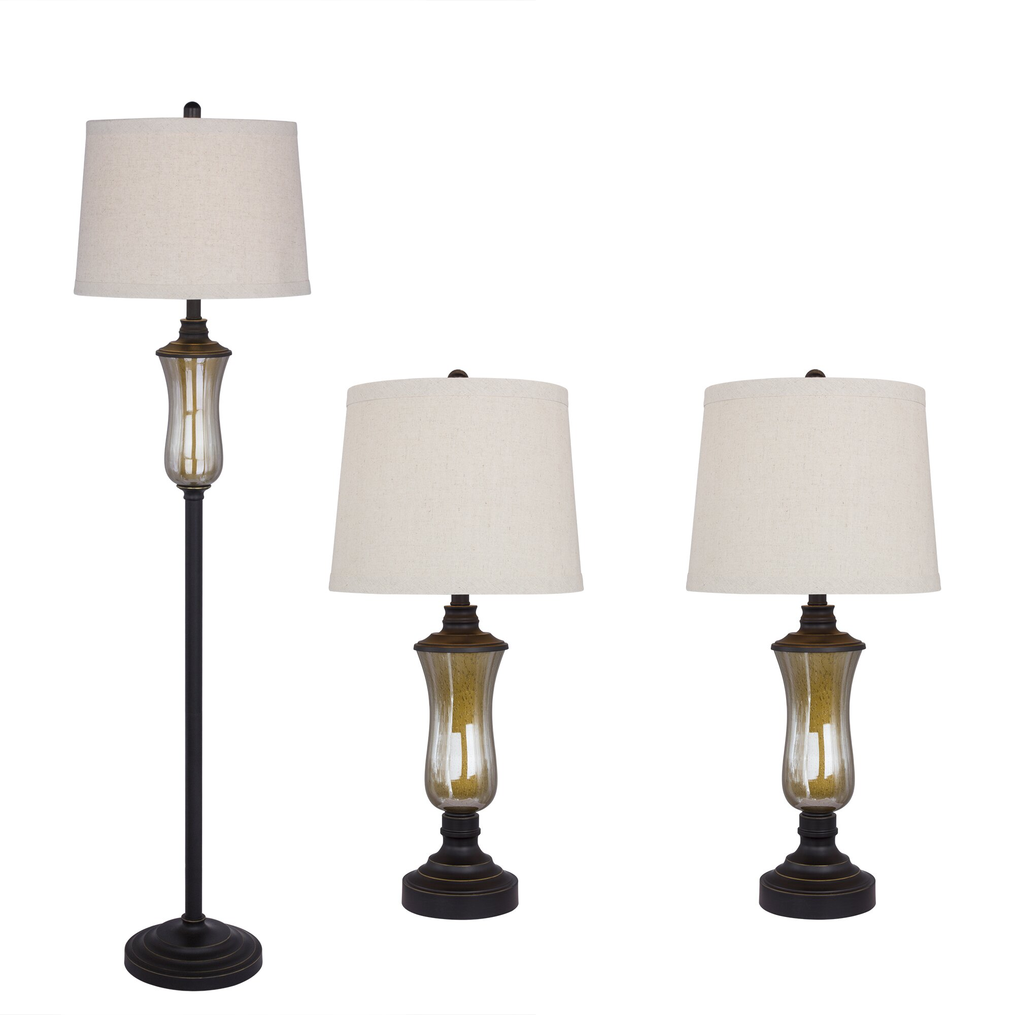 Fangio Lighting 3 Piece Seeded Glass And Metal Table/Floor Lamp Set