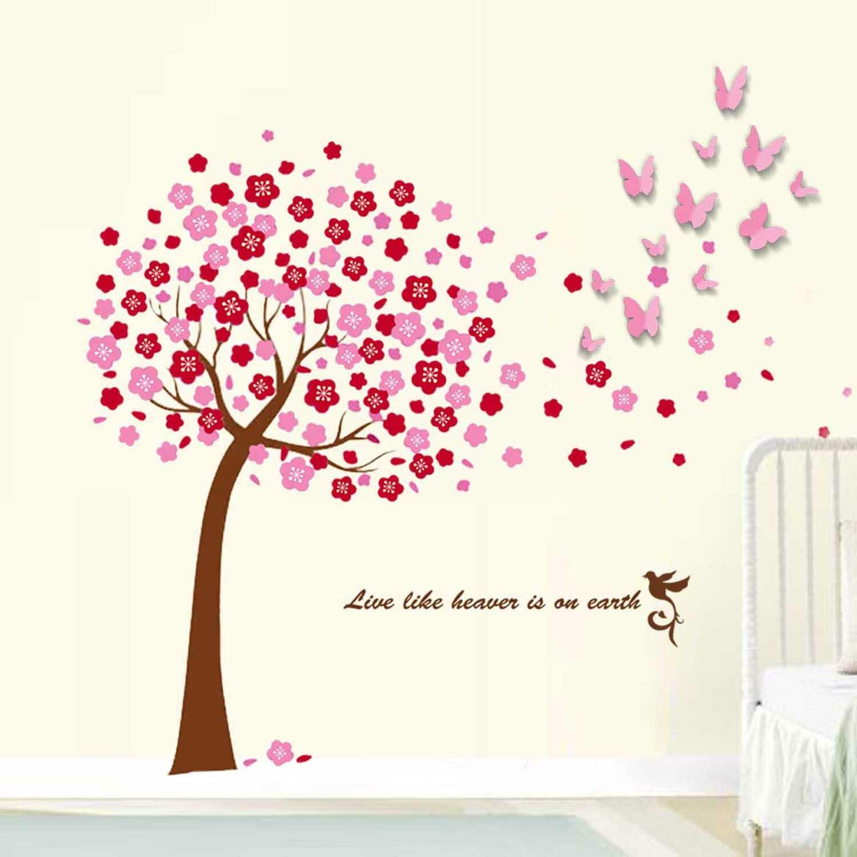 pink tree and 3d pink butterflies art wall sticker bloom pink wall stickers