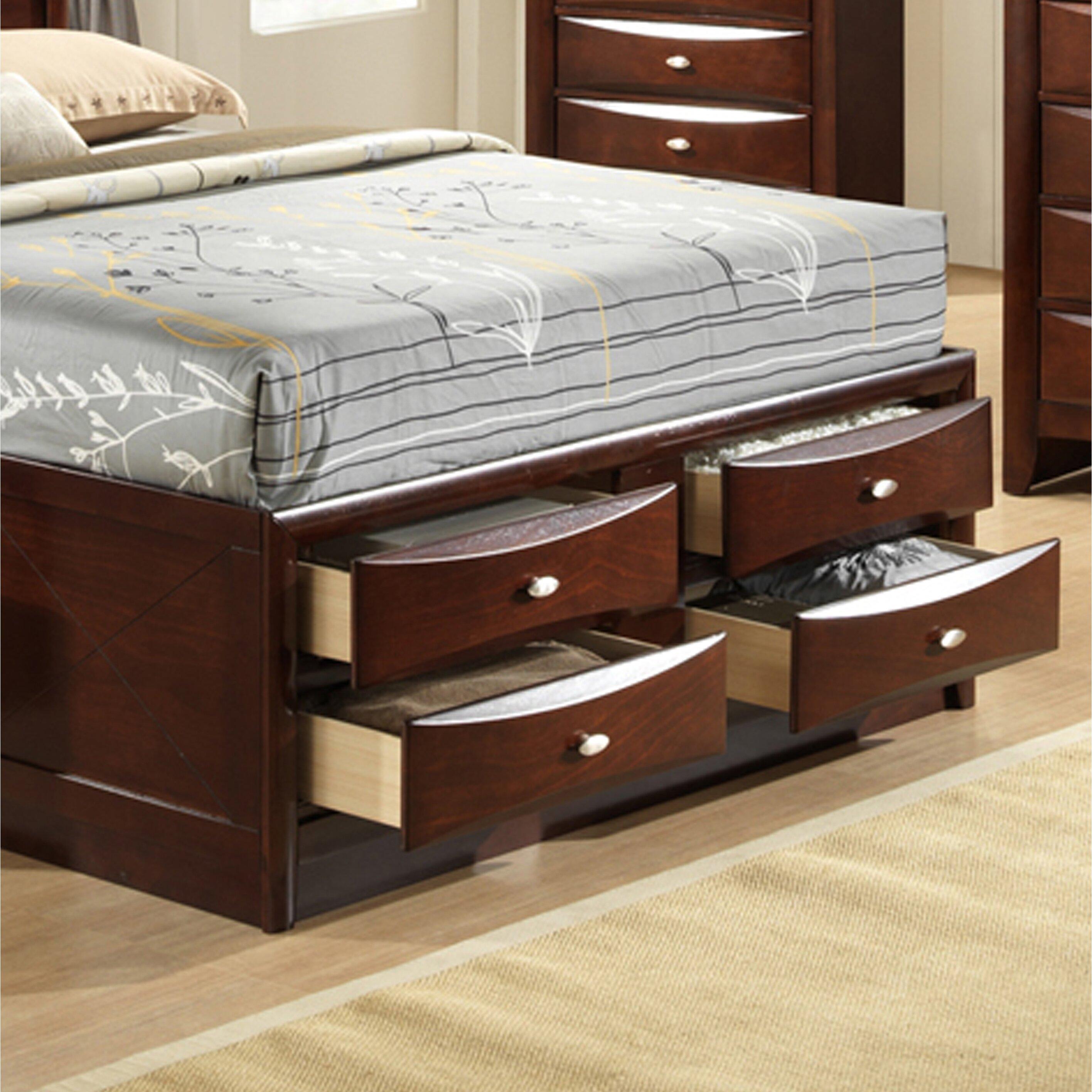 emily storage 4 piece bedroom set wayfair emily wenge platform bedroom set global furniture