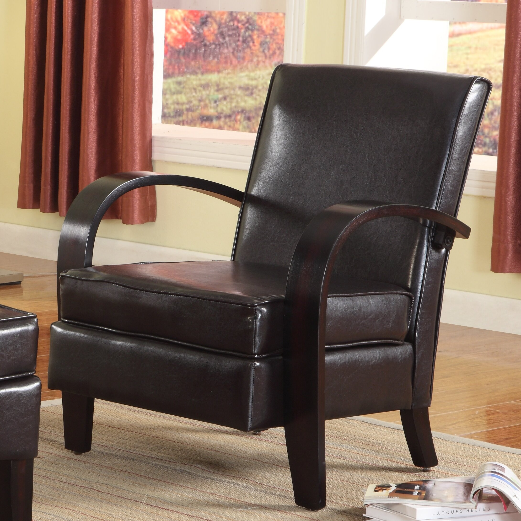 Leather Chair With Metal Accent On Arms: Wonda Bonded Leather Arm Chair