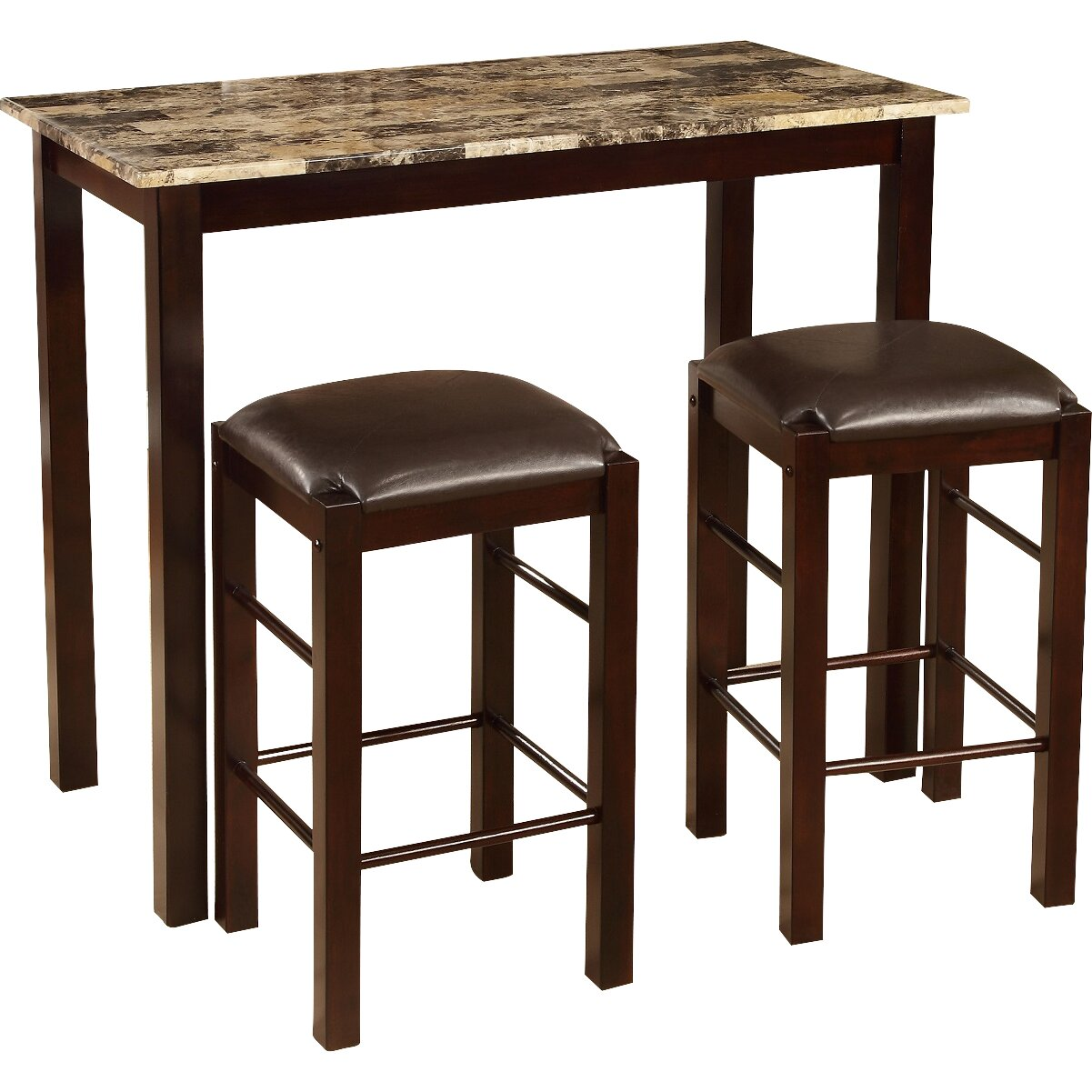 roundhill furniture brando 3 piece counter height dining set reviews wayfair. Black Bedroom Furniture Sets. Home Design Ideas