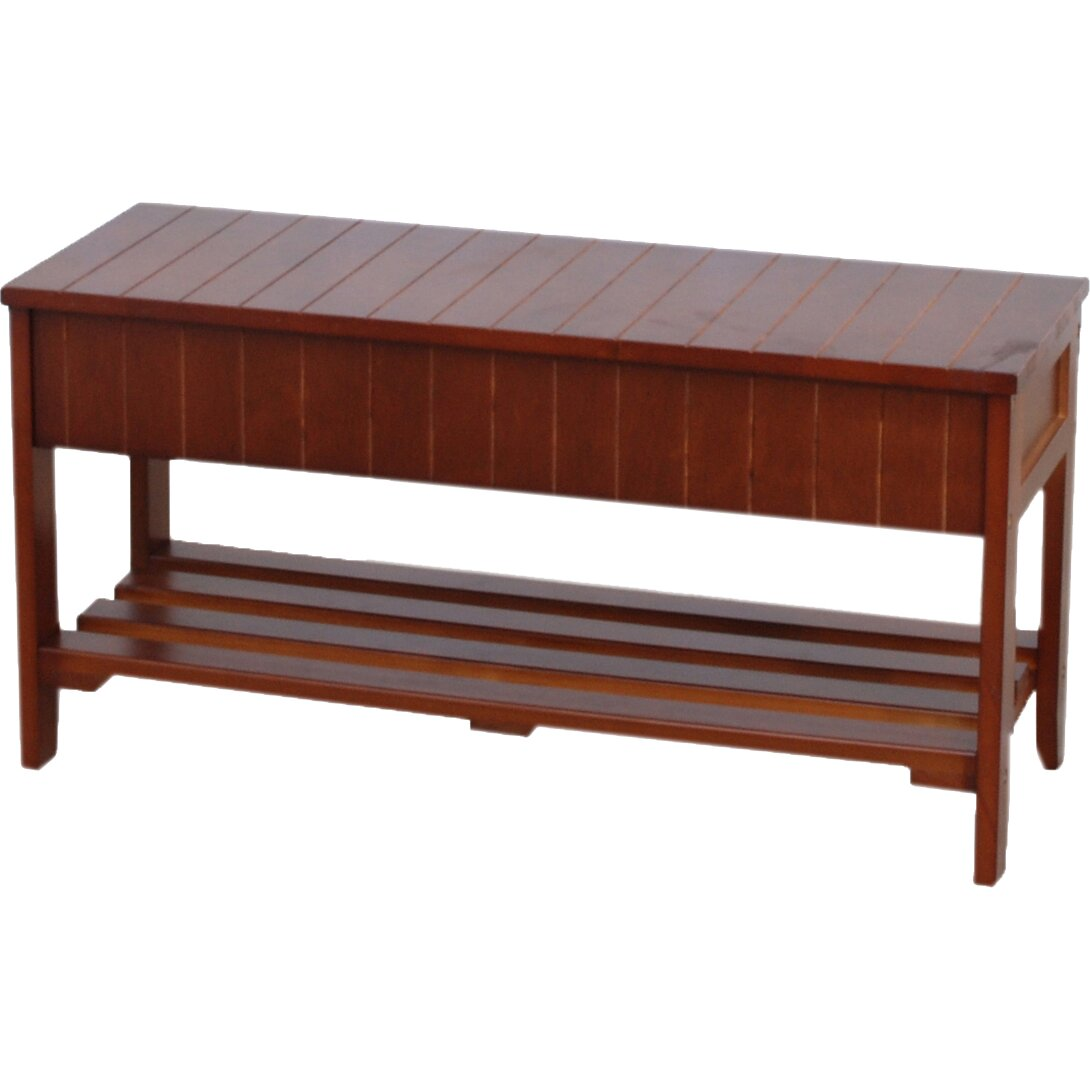 Roundhill Furniture Rennes Wood Storage Bench & Reviews