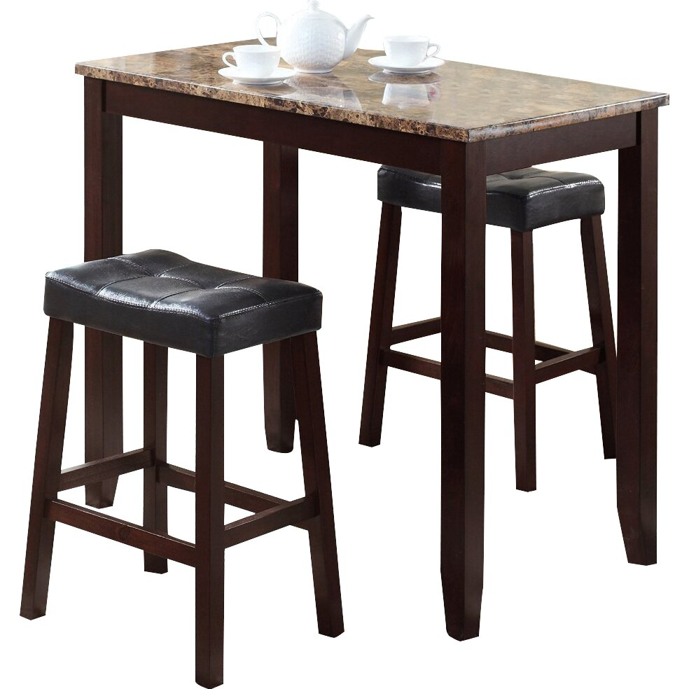3 piece counter height pub table set wayfair for Breakfast table with stools