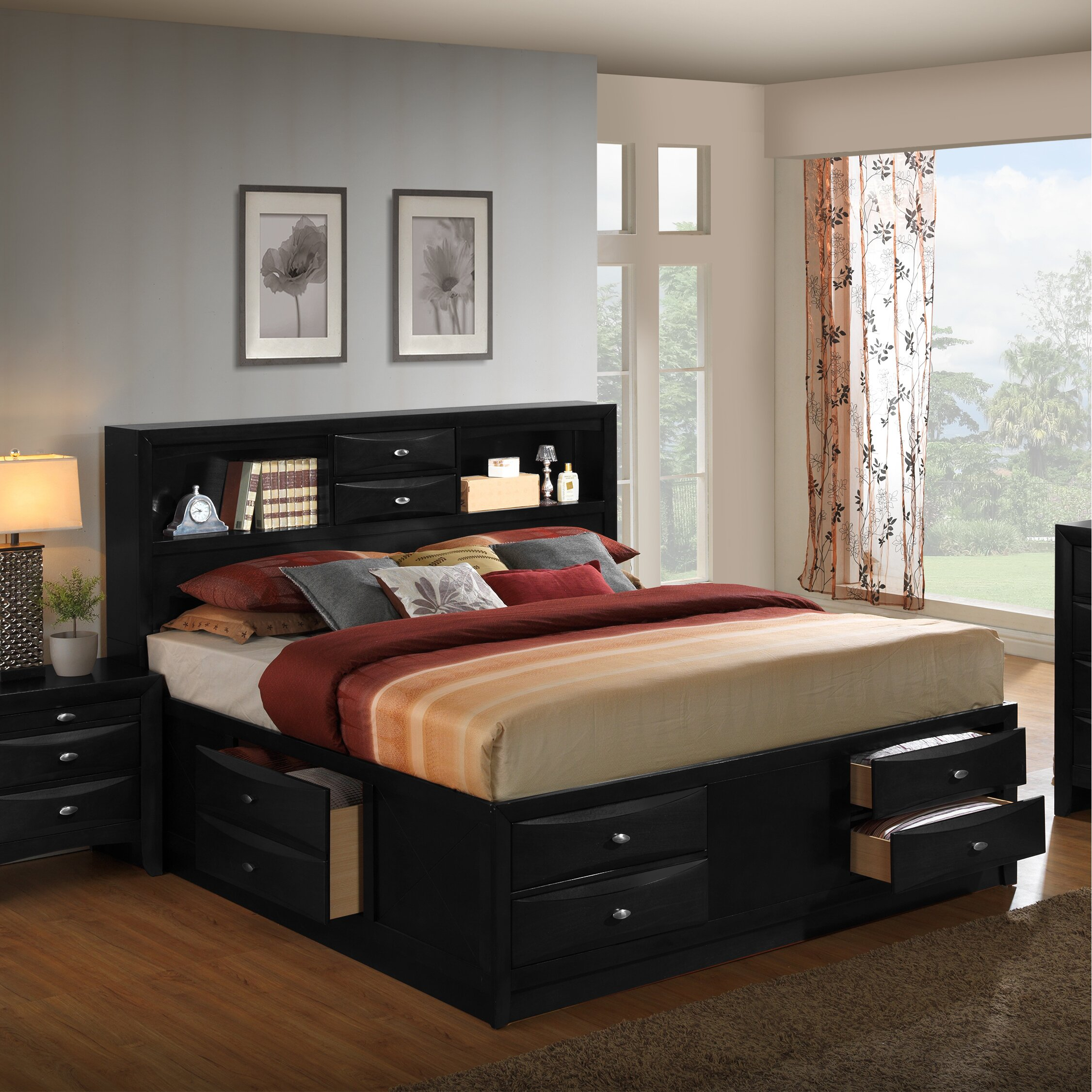 blemerey platform 6 piece bedroom set by roundhill furniture