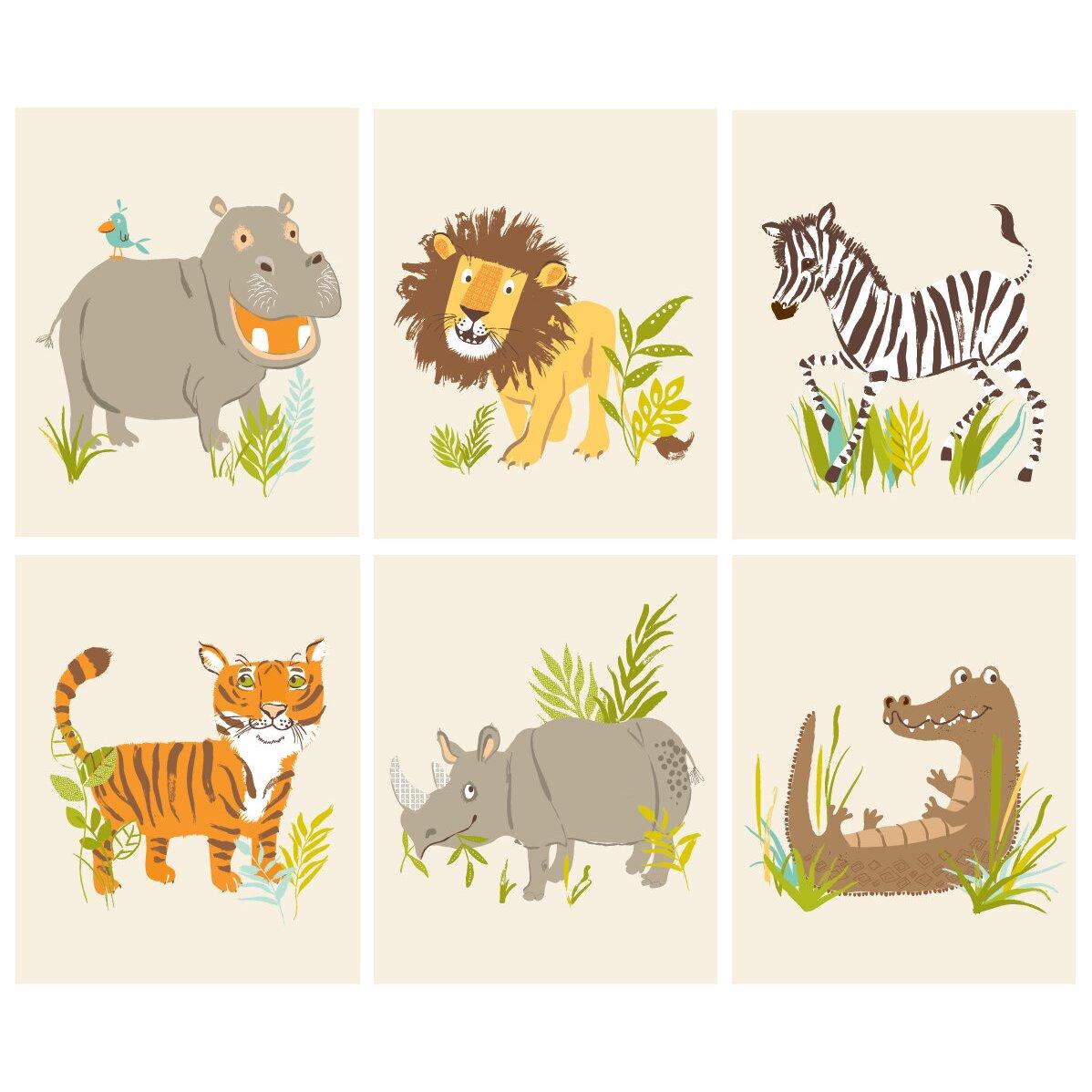 6 Piece Safari Friends Paper Print Set Wayfair Ca