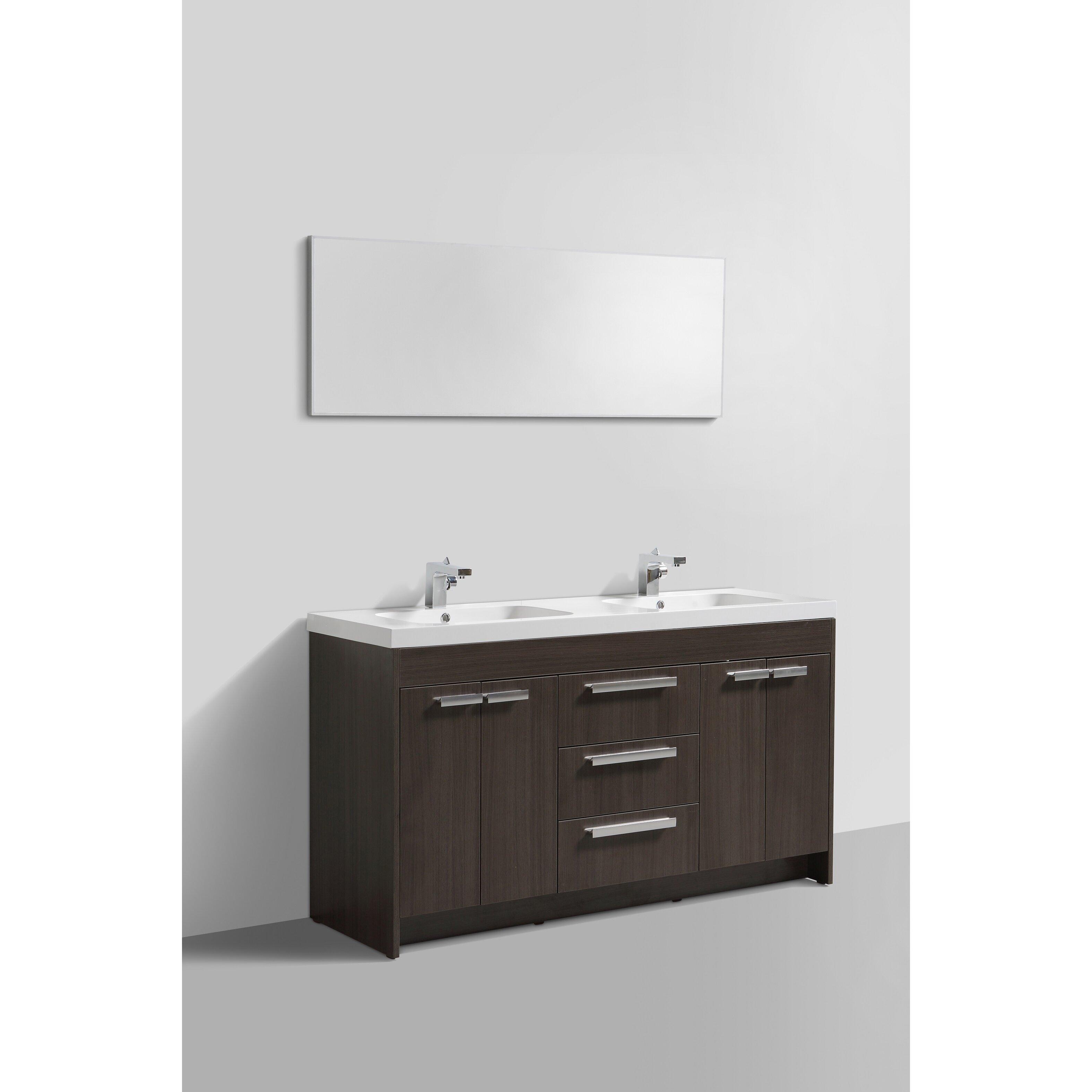 """Lugano 60"""" Double Modern Bathroom Vanity Set"""
