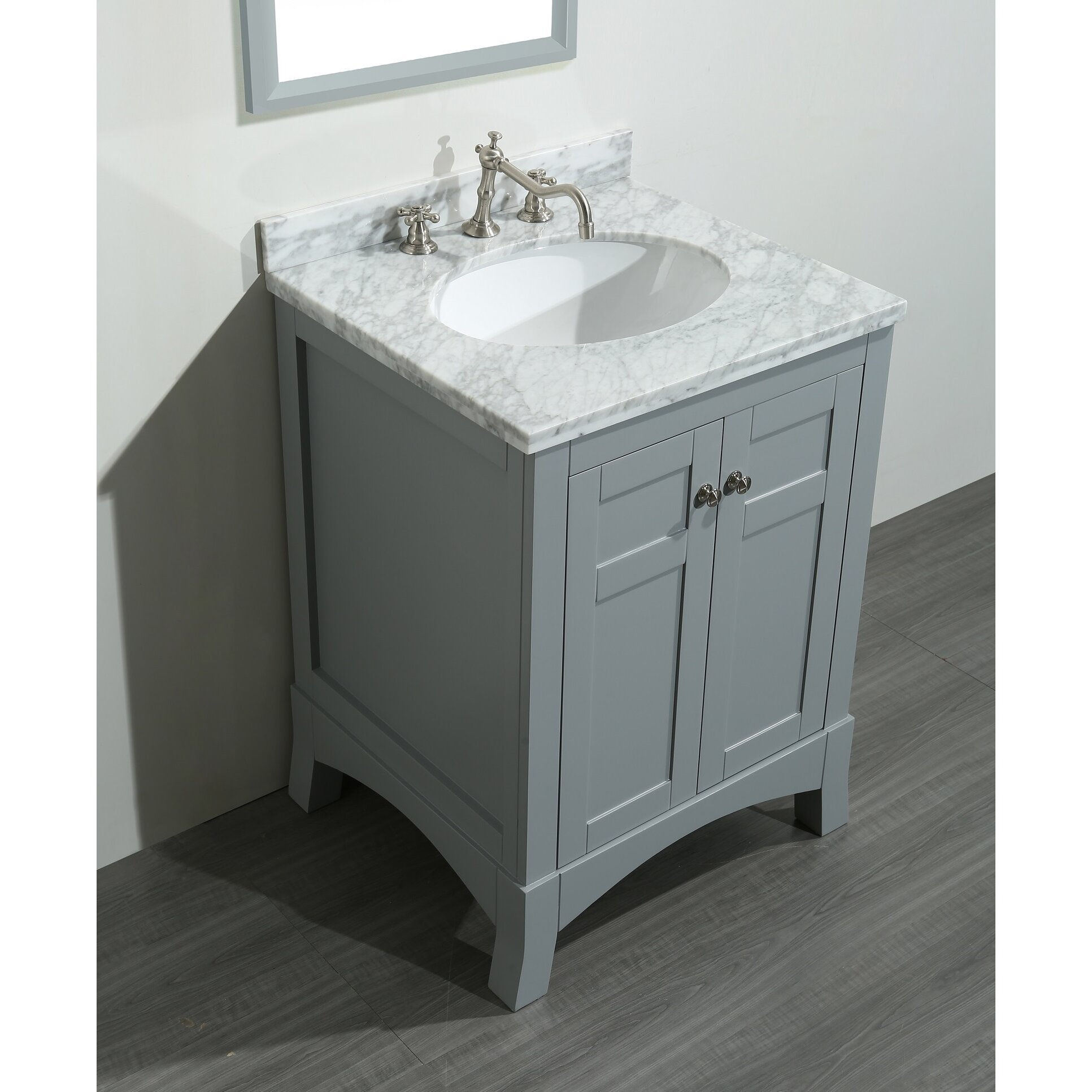 "Grey And White Marble Bathroom: Eviva New York 24"" Single Bathroom Vanity Set & Reviews"