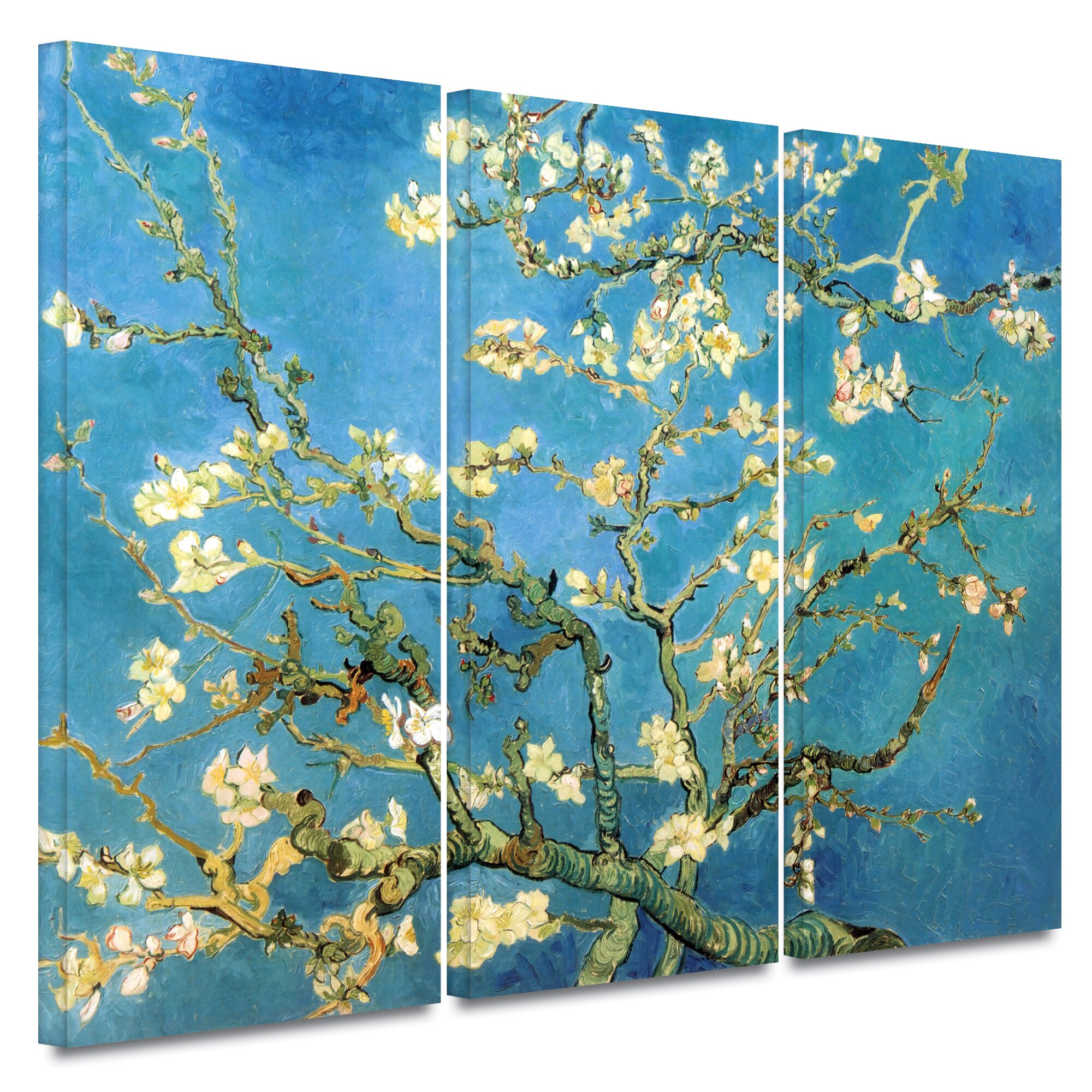 Bungalow rose 39 almond blossom 39 by vincent van gogh 3 piece for Set of three canvas paintings