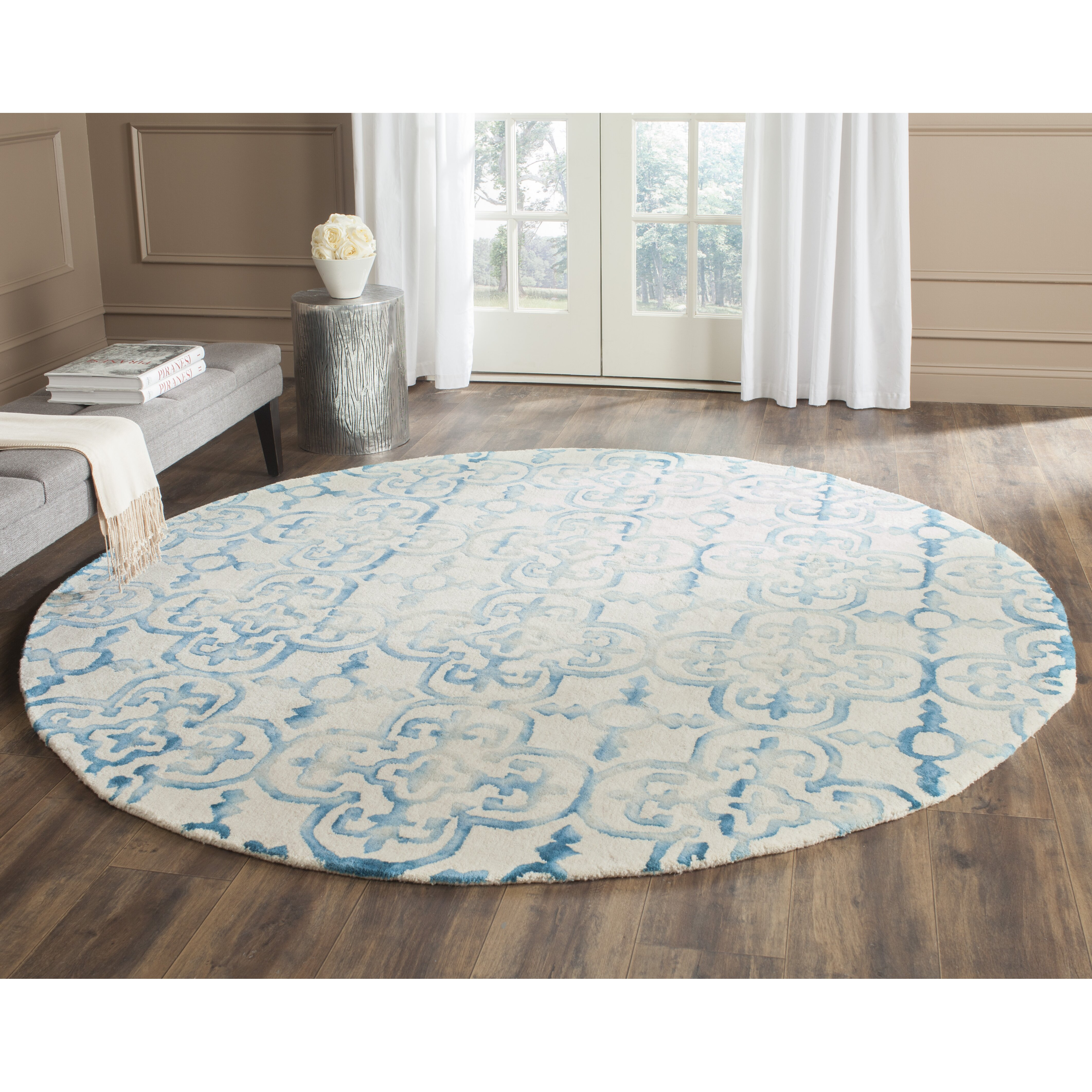 Bungalow Rose Saleya Turquoise Area Rug Reviews: Bungalow Rose Castries Hand-Tufted Ivory/Turquoise Area