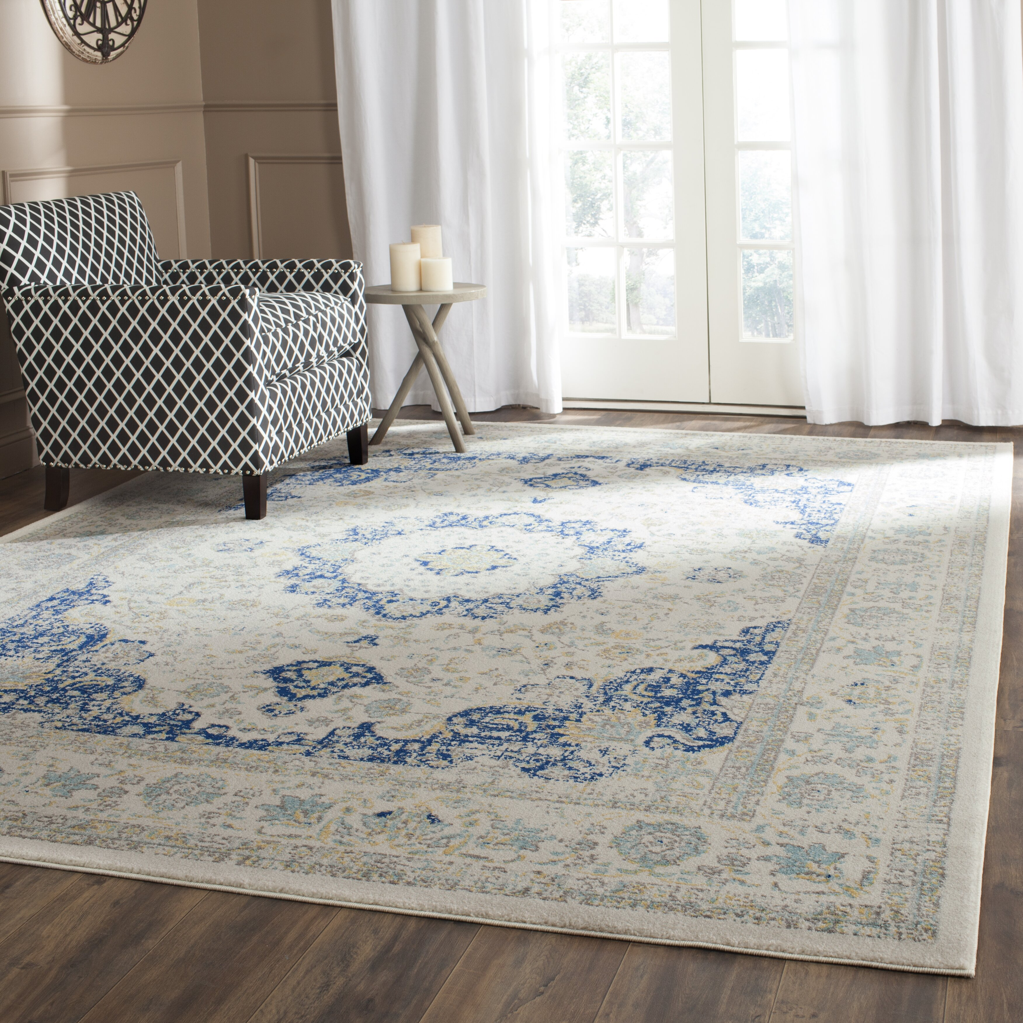 Bungalow Rose Ferry Ivory Blue Area Rug Amp Reviews Wayfair