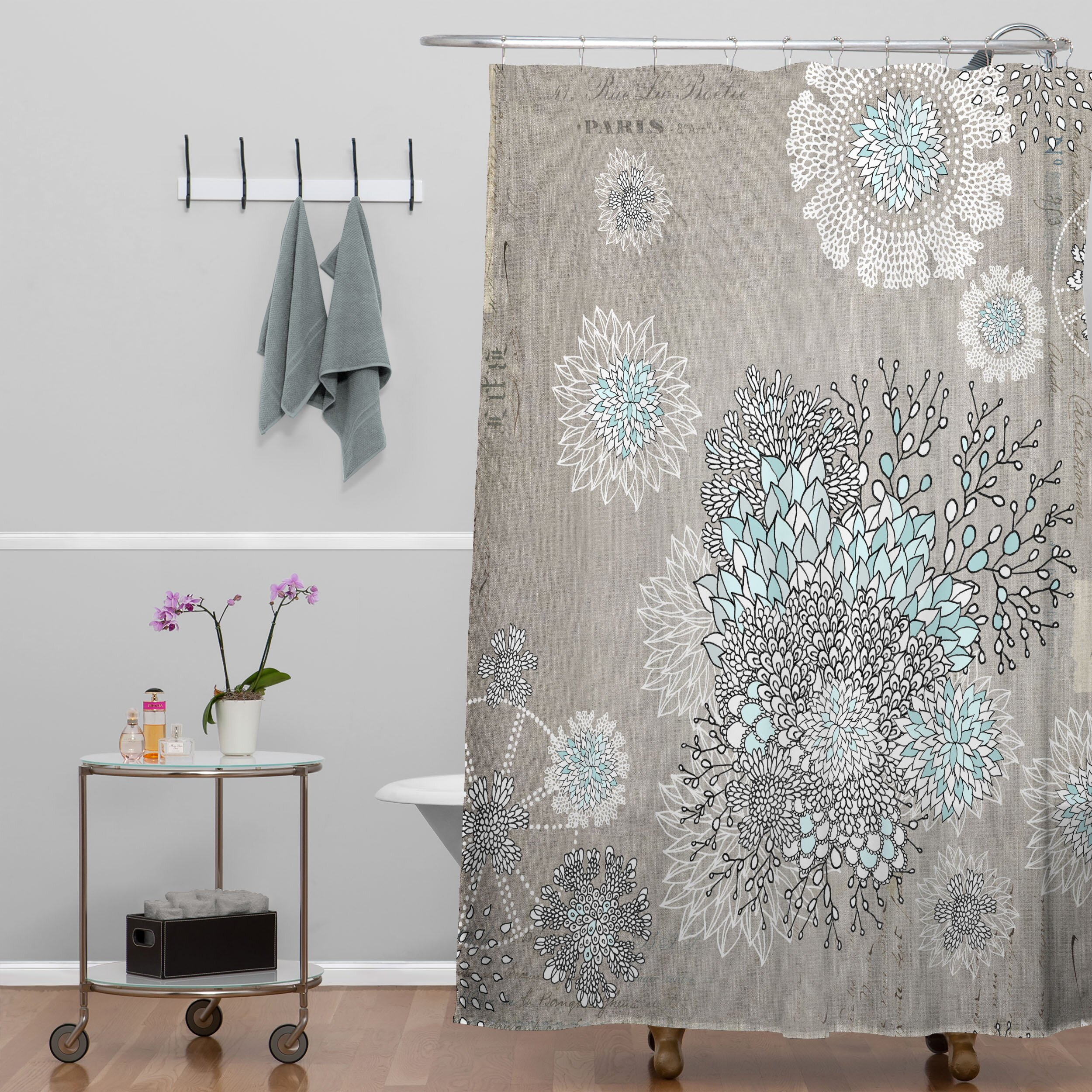 bungalow rose terra french blue extra long shower curtain